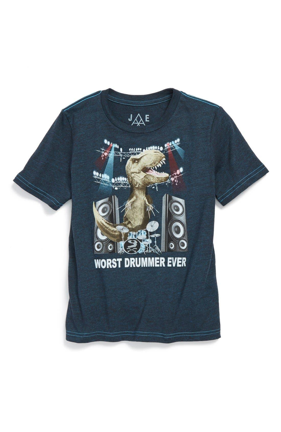 Main Image - Jem 'Worst Drummer Ever' Graphic Short Sleeve T-Shirt (Toddler Boys & Little Boys)