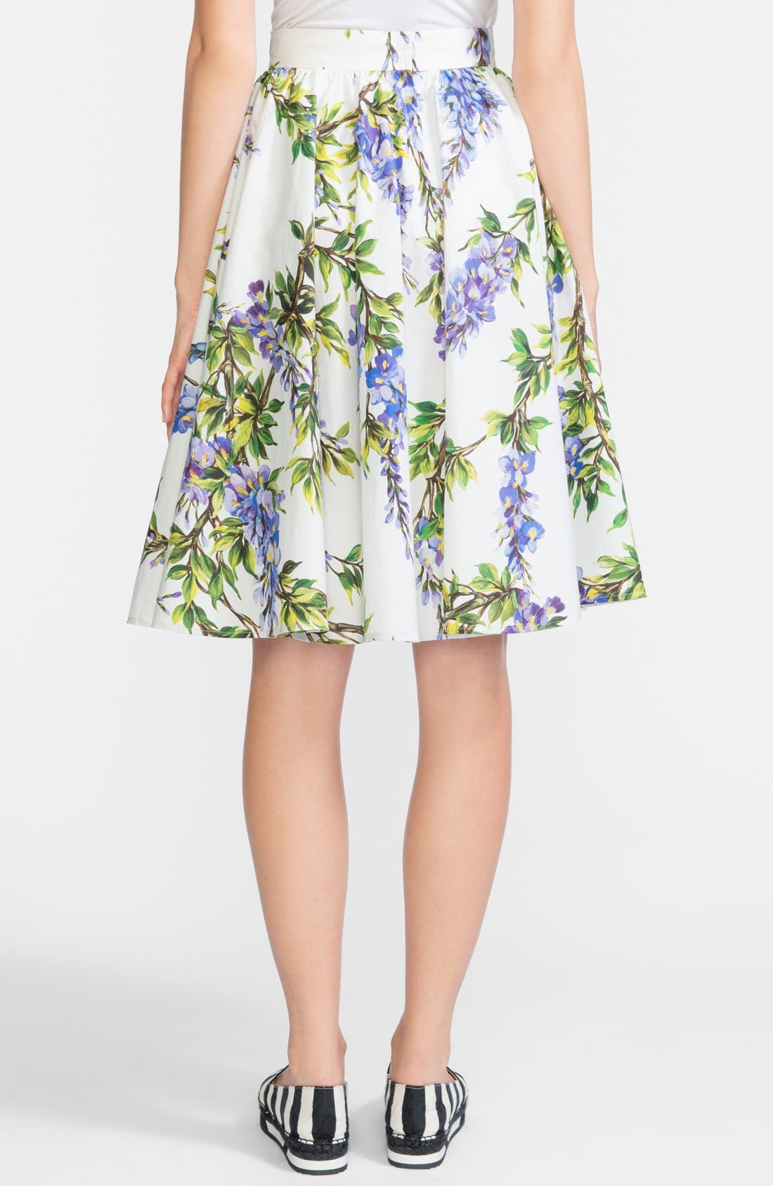 Alternate Image 2  - Dolce&Gabbana Wisteria Print Cotton Skirt