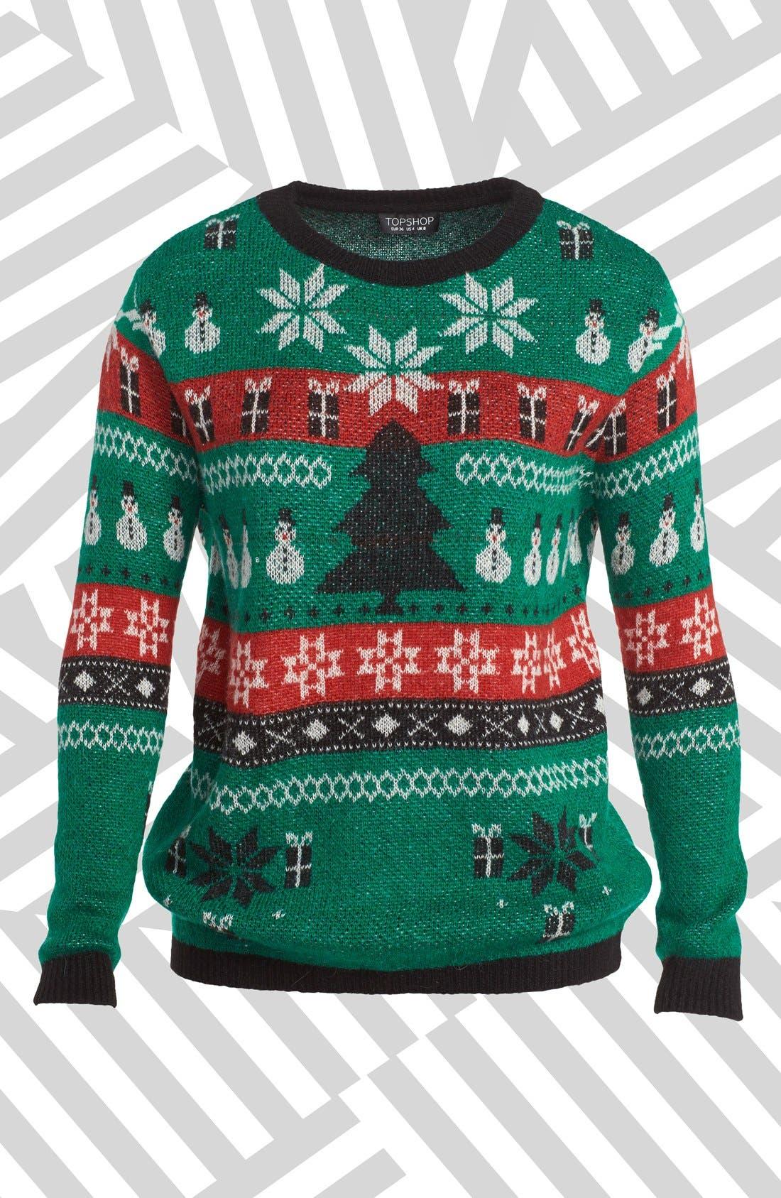 Alternate Image 1 Selected - Topshop Fair Isle Christmas Sweater