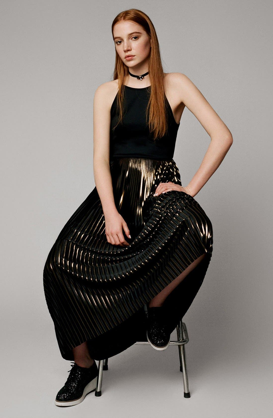 Alternate Image 5  - Topshop Strappy Pleated Maxi Dress