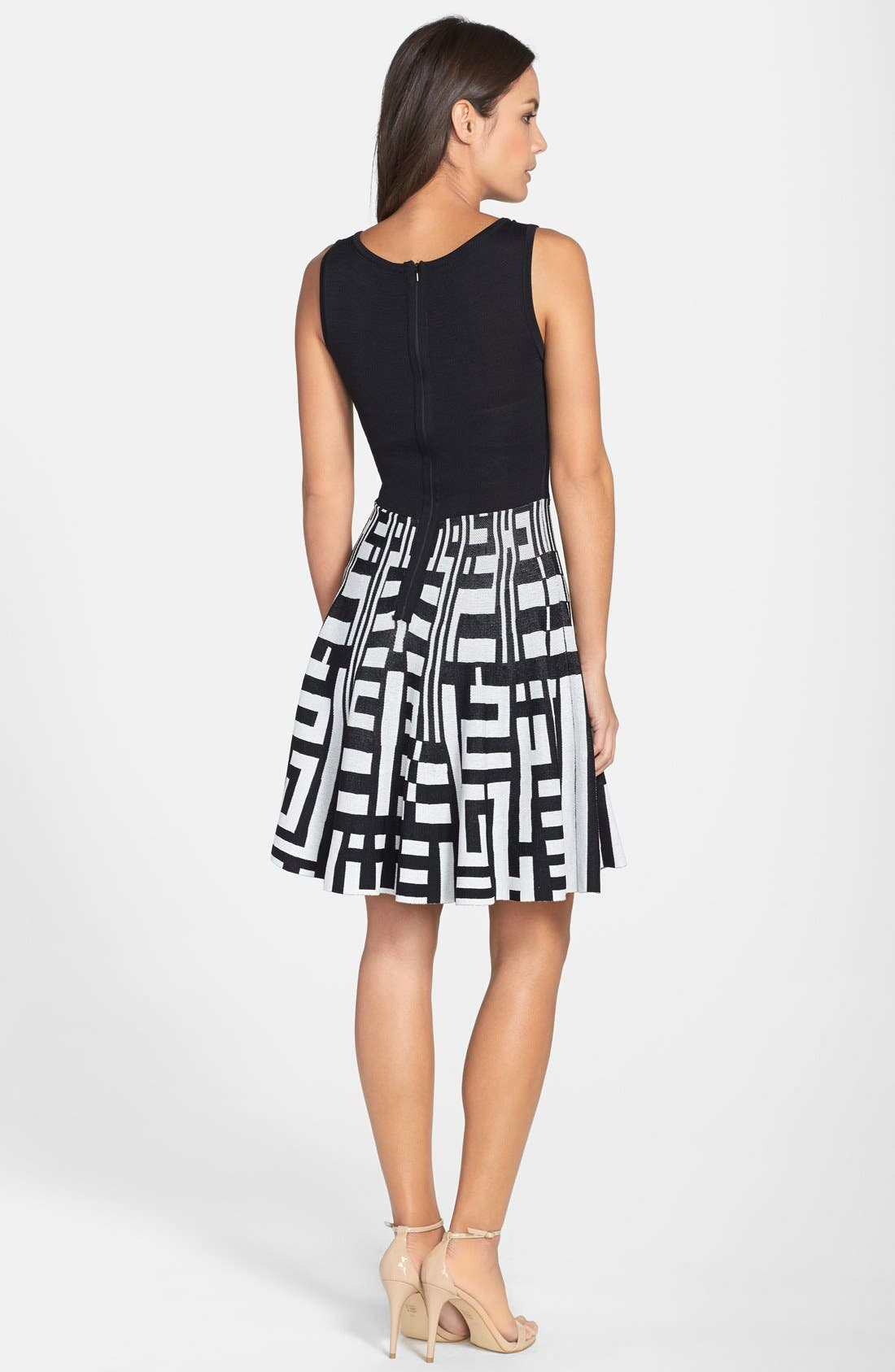 Alternate Image 2  - Plenty by Tracy Reese 'Amber' Print Skirt Fit & Flare Sweater Dress (Regular & Petite)