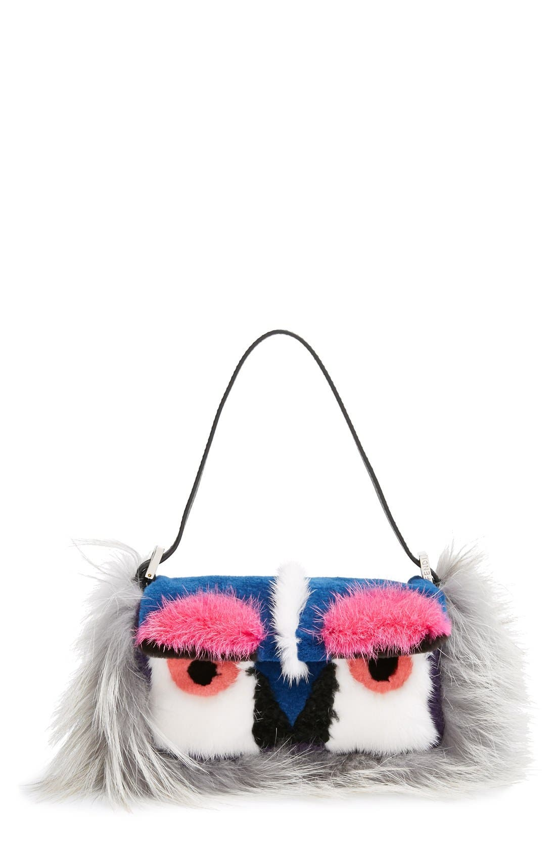 Alternate Image 1 Selected - Fendi 'Monster' Genuine Mink & Genuine Fox Fur Mini Baguette