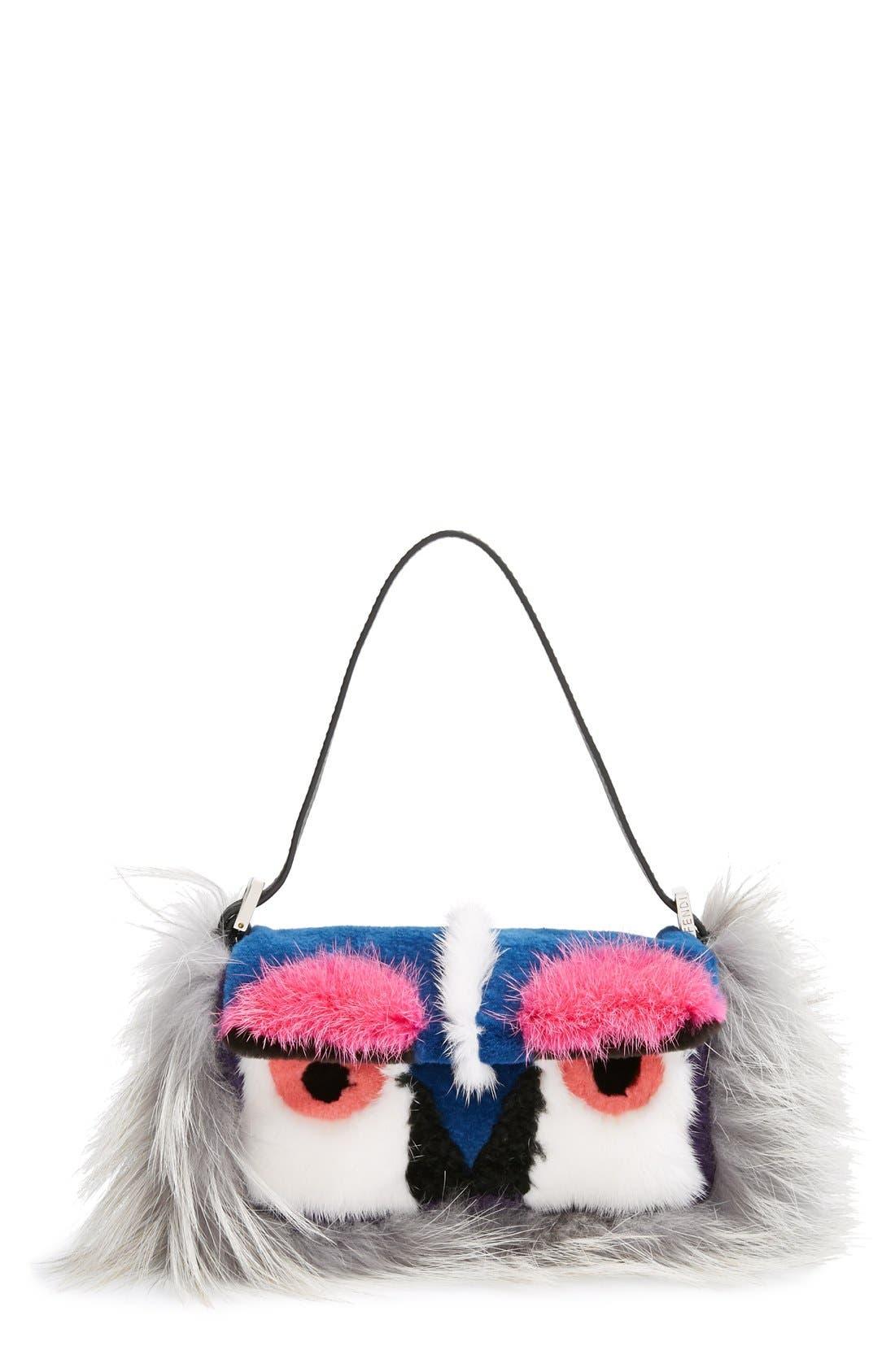 Main Image - Fendi 'Monster' Genuine Mink & Genuine Fox Fur Mini Baguette