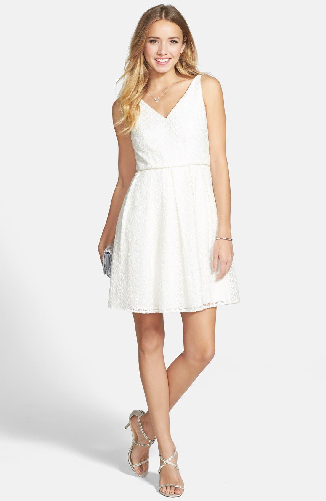 Alternate Image 1 Selected - a. drea Lace Skater Dress (Juniors)
