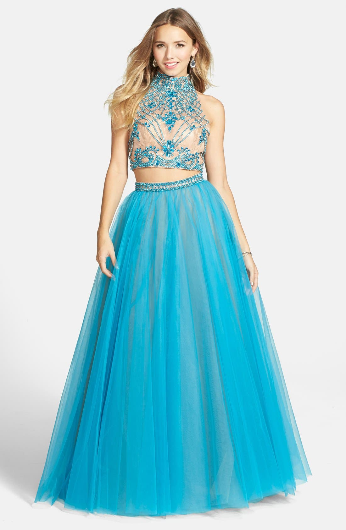 Main Image - Sherri Hill Embellished Lace Crop Halter Tank & Chiffon Skirt