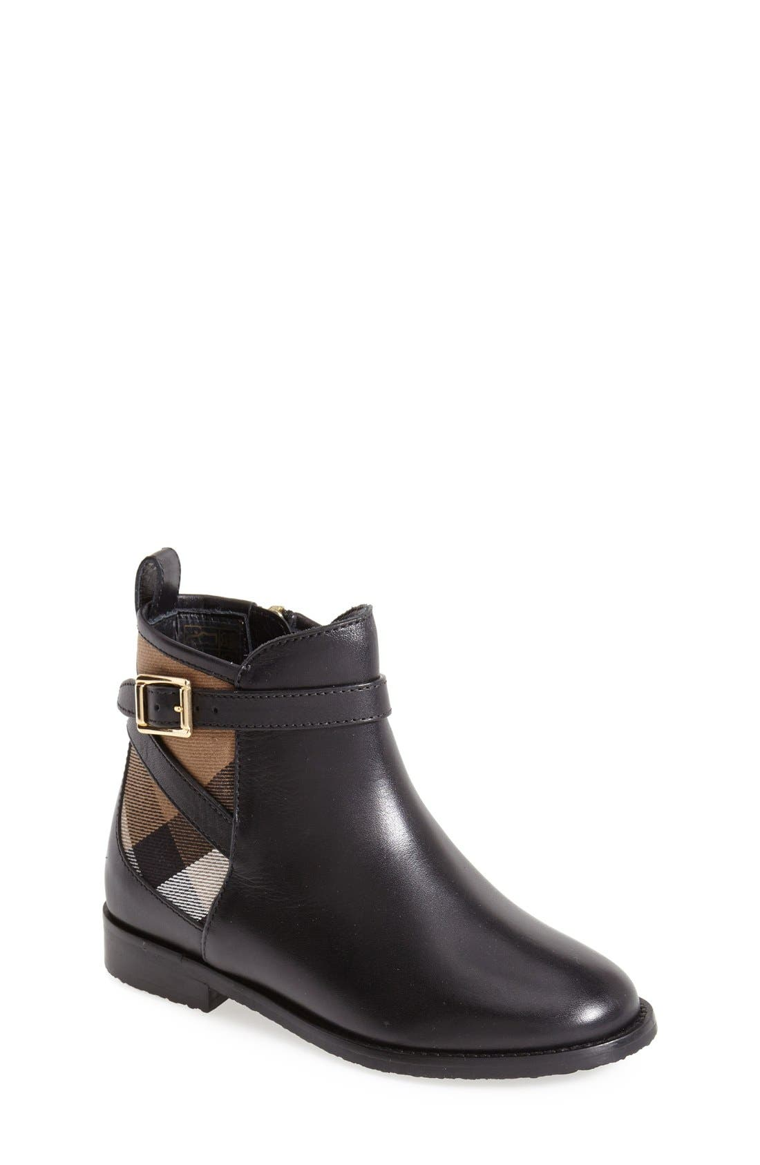Burberry 'Mini Richardson' Leather Boot (Walker, Toddler & Little Kid)