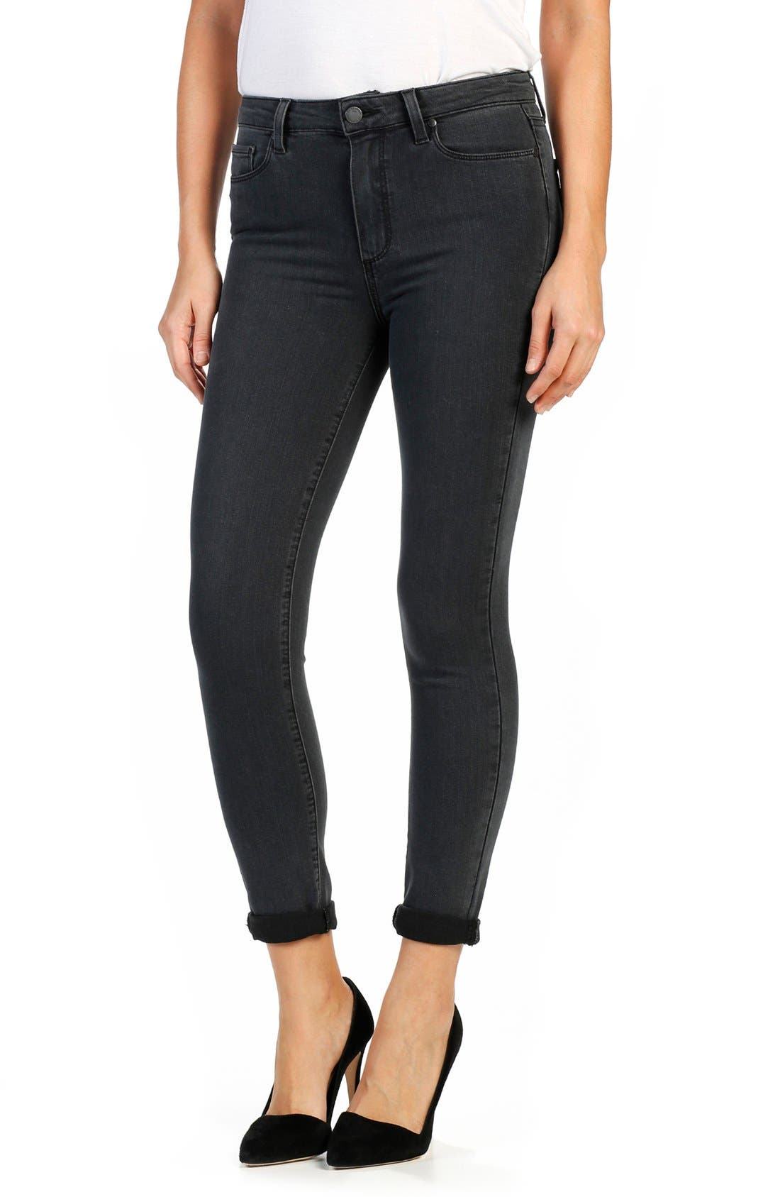 PAIGE Transcend Hoxton Crop Roll-Up High Waist Ultra Skinny Jeans (Smoke Grey)