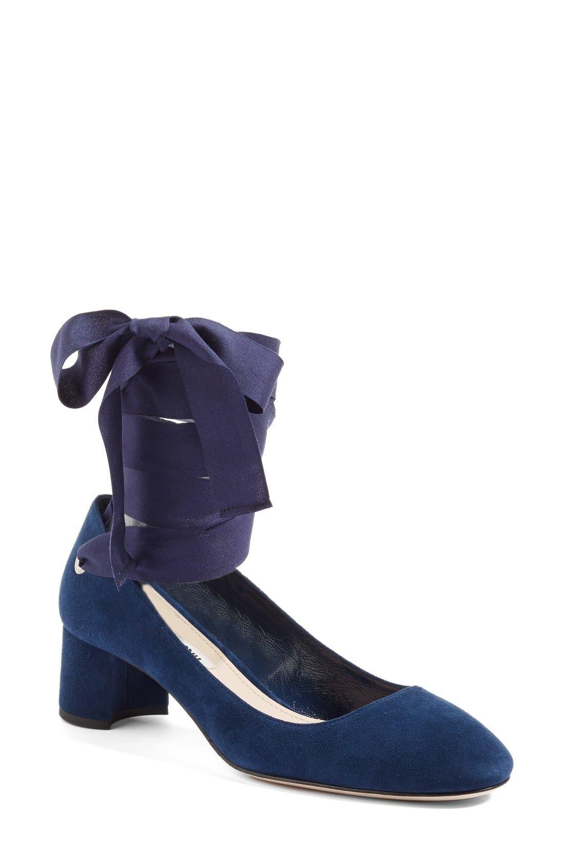 Main Image - Miu Miu Ribbon Lace Wraparound Pump (Women)