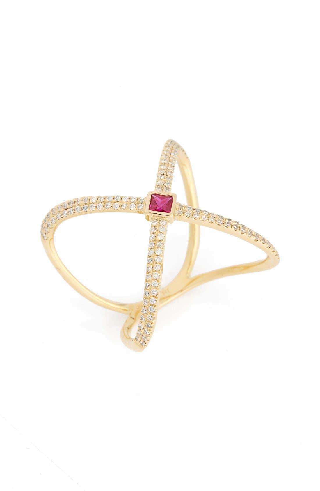 BONY LEVY Diamond & Gem Crossover Ring