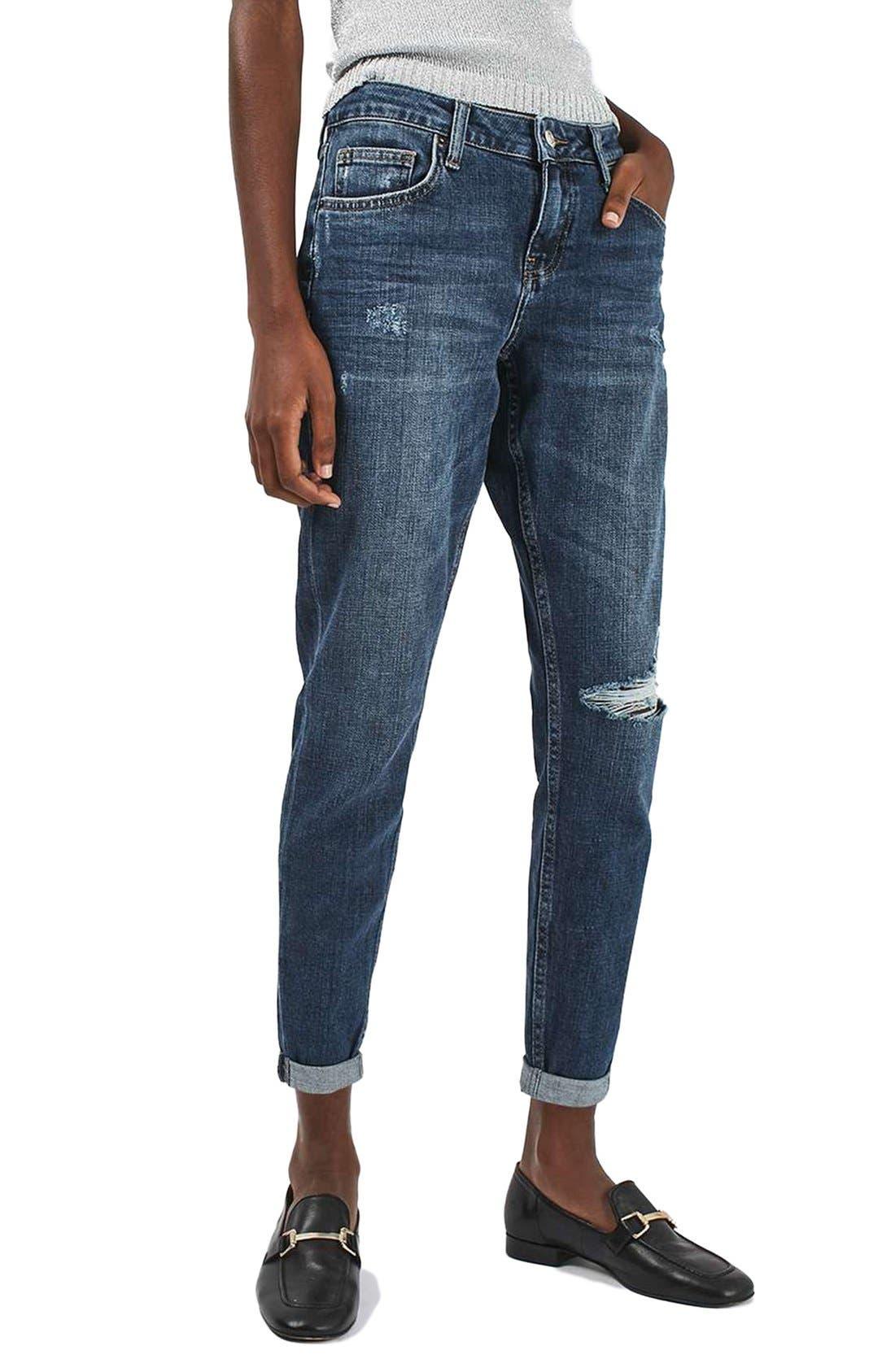 Alternate Image 1 Selected - Topshop Lucas Ripped Boyfriend Jeans (Petite)