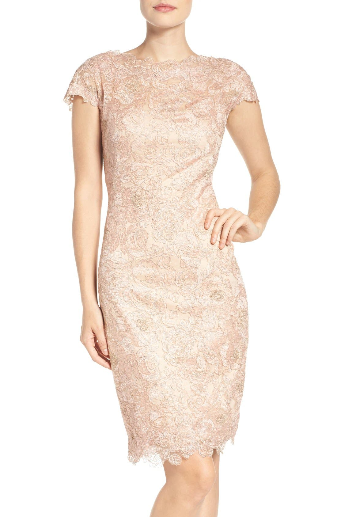 Tadashi Shoji Embroidered Mesh Sheath Dress (Regular & Petite)