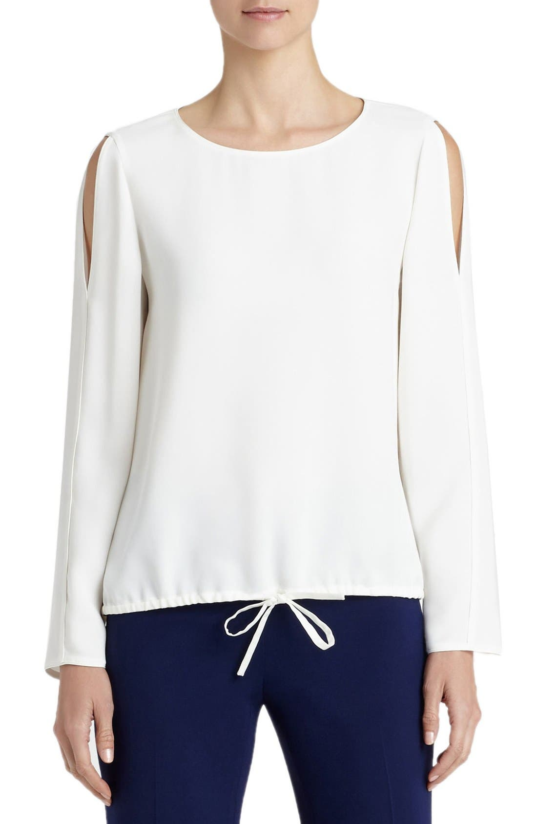 Main Image - Lafayette 148 New York Maxina Silk Cold Shoulder Blouse