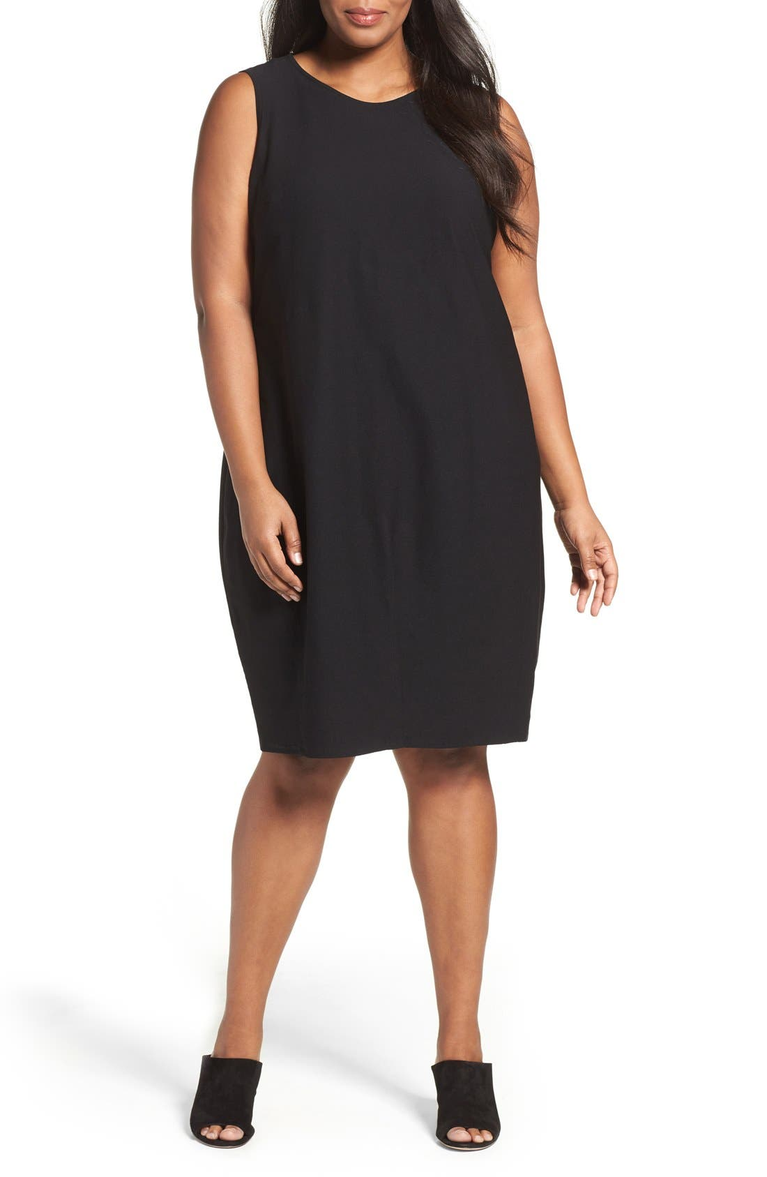 Alternate Image 1 Selected - Eileen Fisher Washable Stretch Crepe Shift Dress (Plus Size)