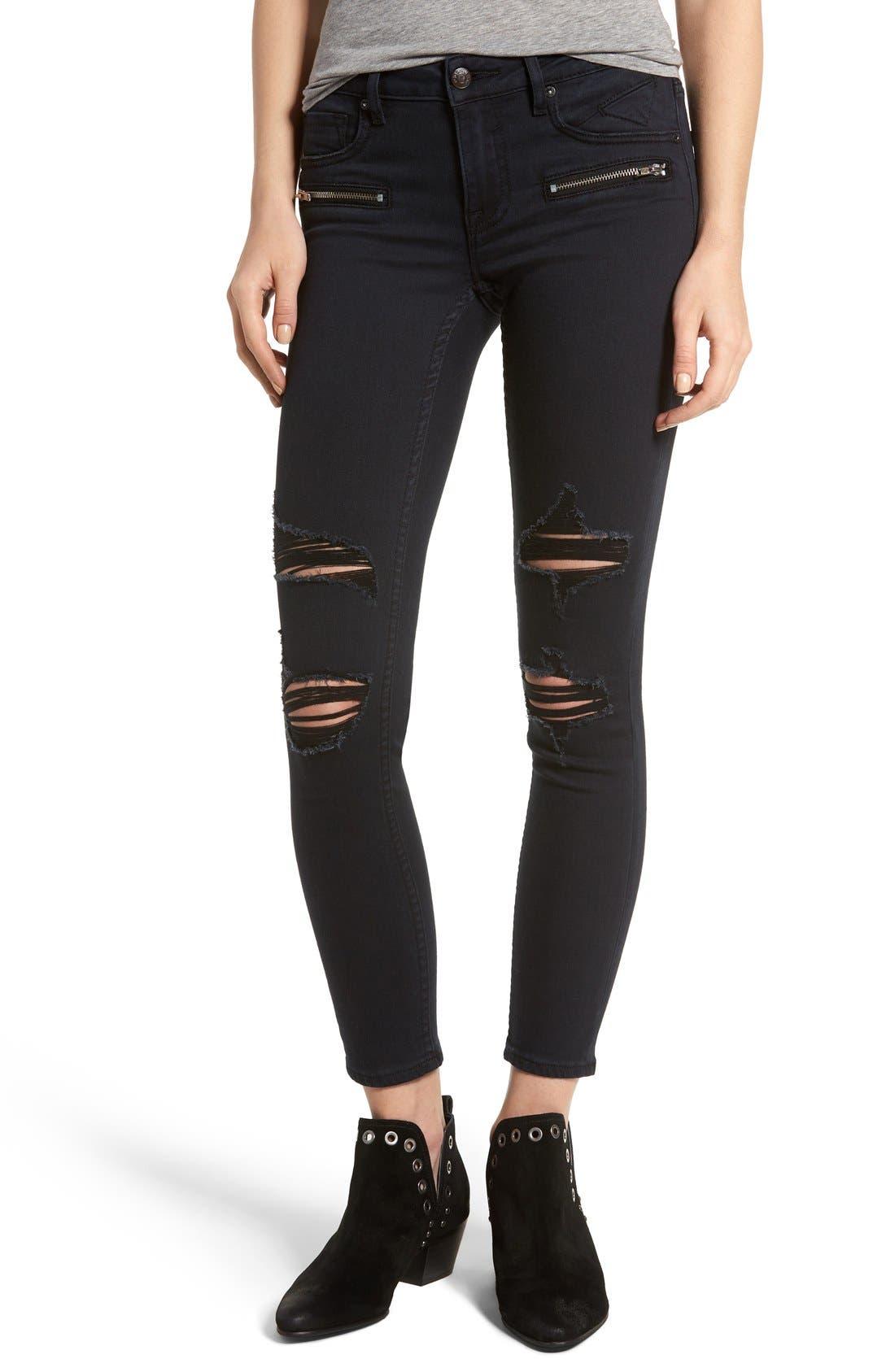 Main Image - Vigoss Distressed Zip Skinny Jeans