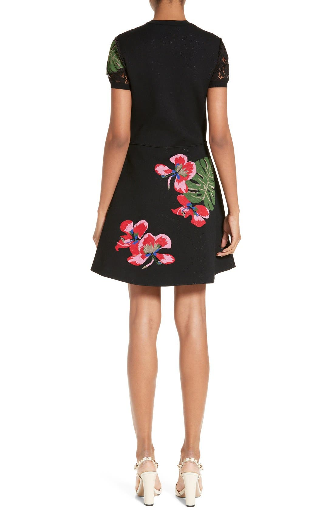 Alternate Image 2  - Valentino Lace Inset Tropical Dream Knit Dress