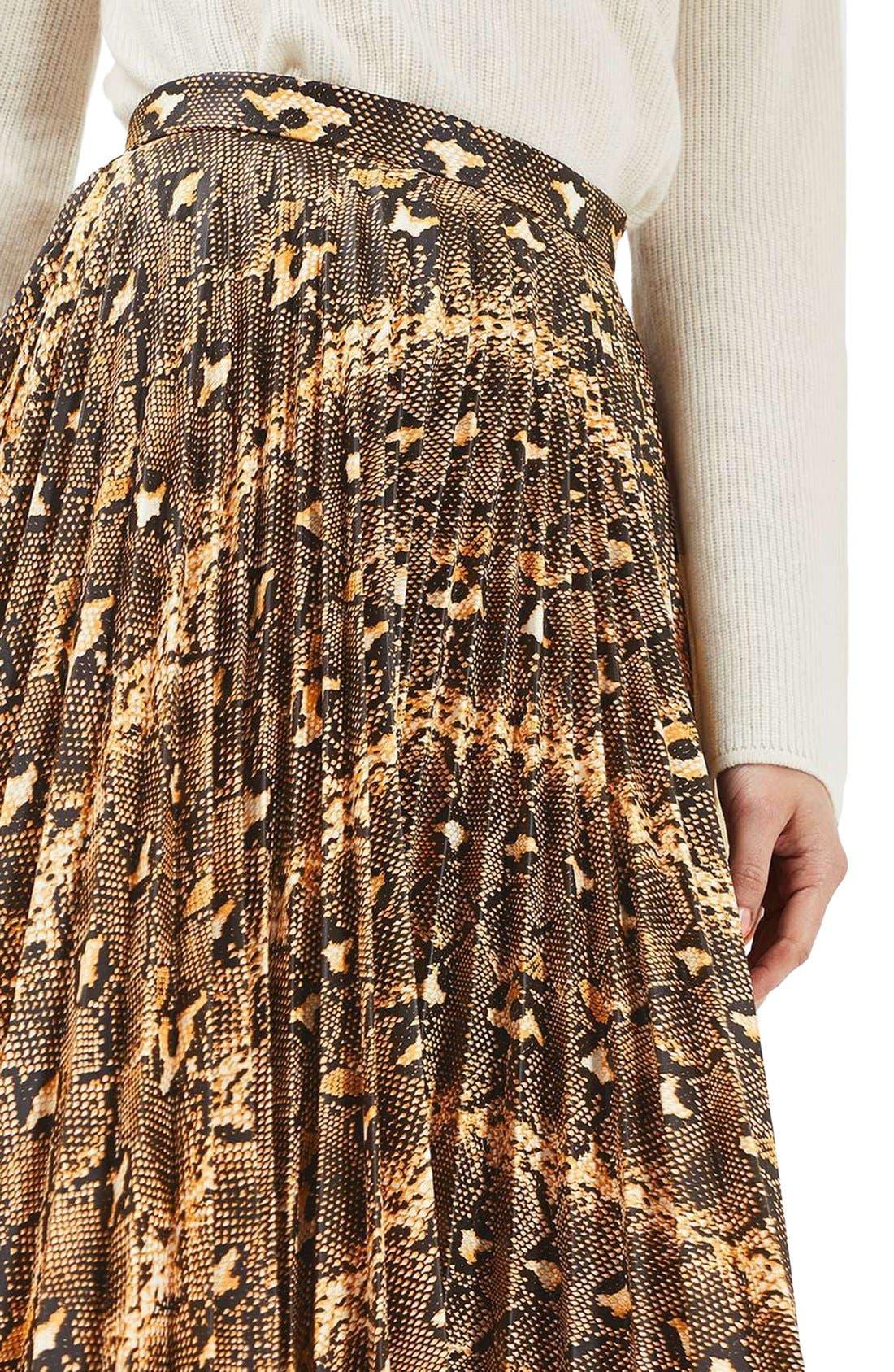 Alternate Image 5  - Topshop Snake Print Pleated Midi Skirt