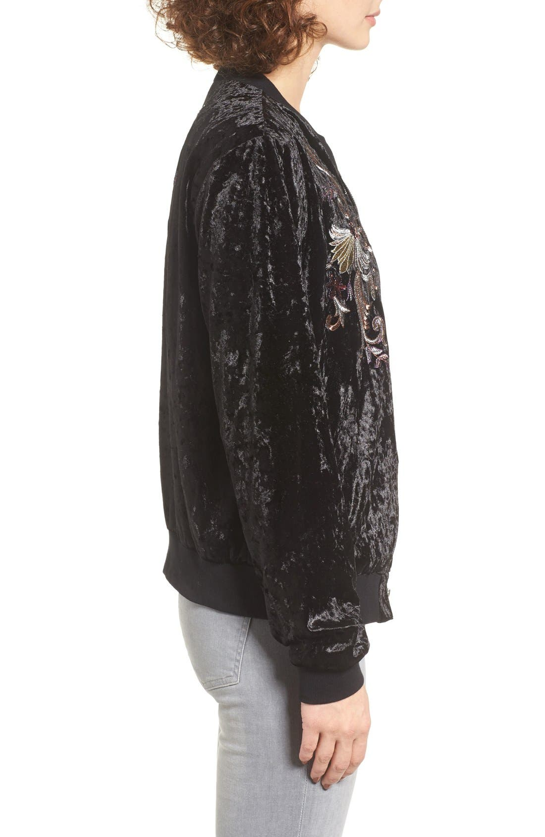 Alternate Image 3  - Somedays Lovin Erin Embellished Velvet Bomber Jacket