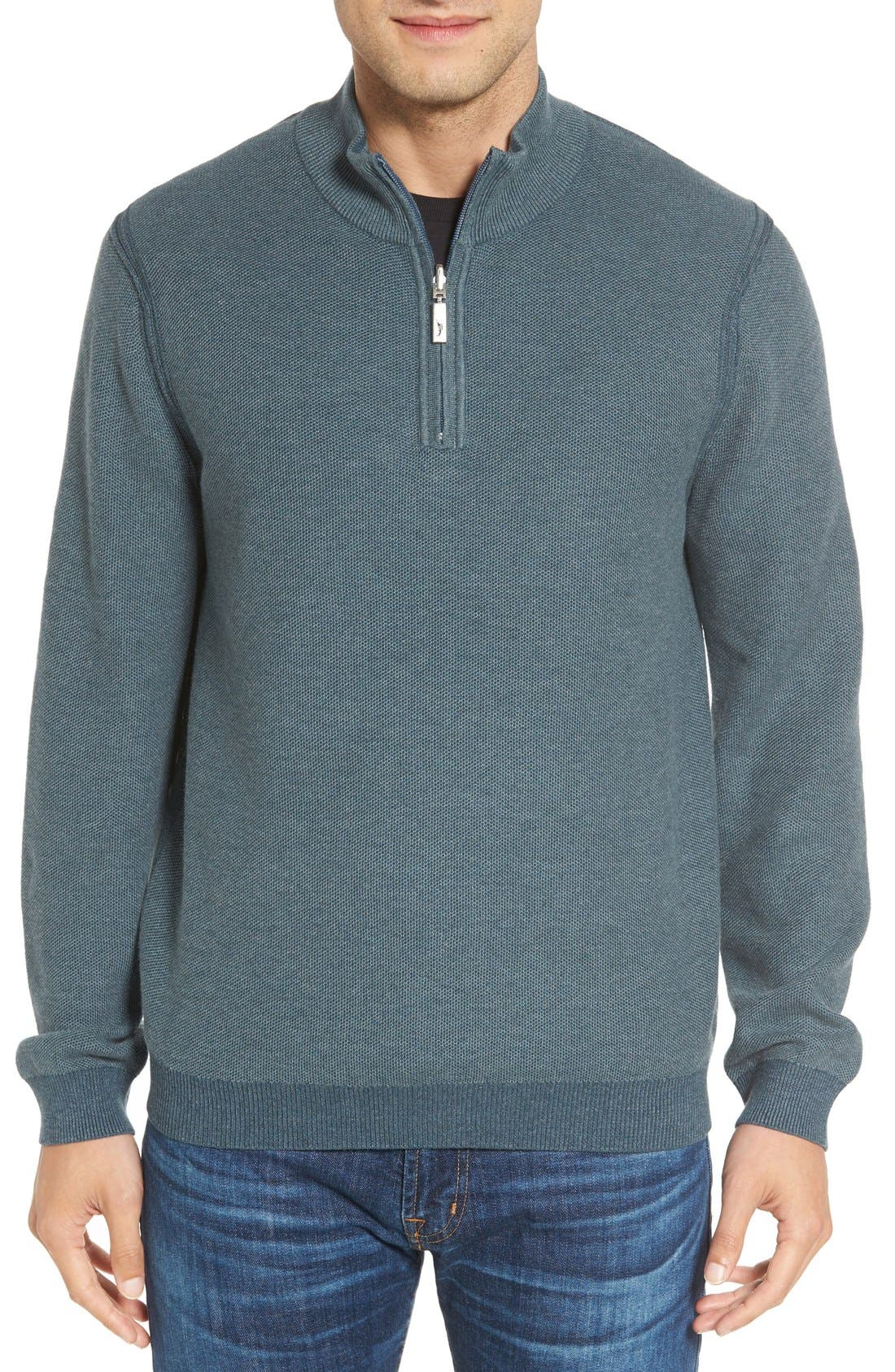 Tommy Bahama Make Mine a Double Reversible Quarter Zip Sweater (Big & Tall)