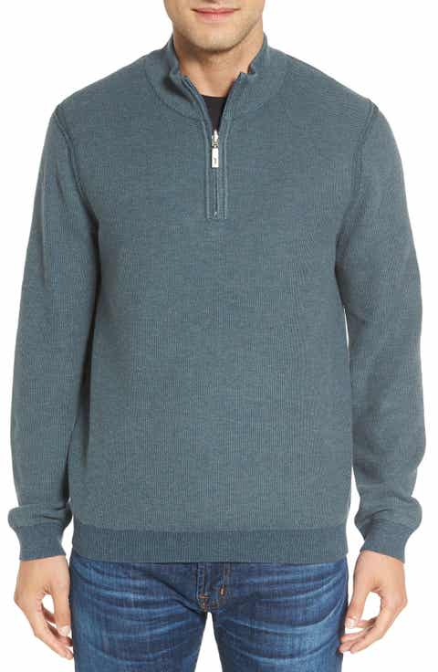 Tommy Bahama Make Mine a Double Reversible Quarter Zip Sweater (Big   Tall)