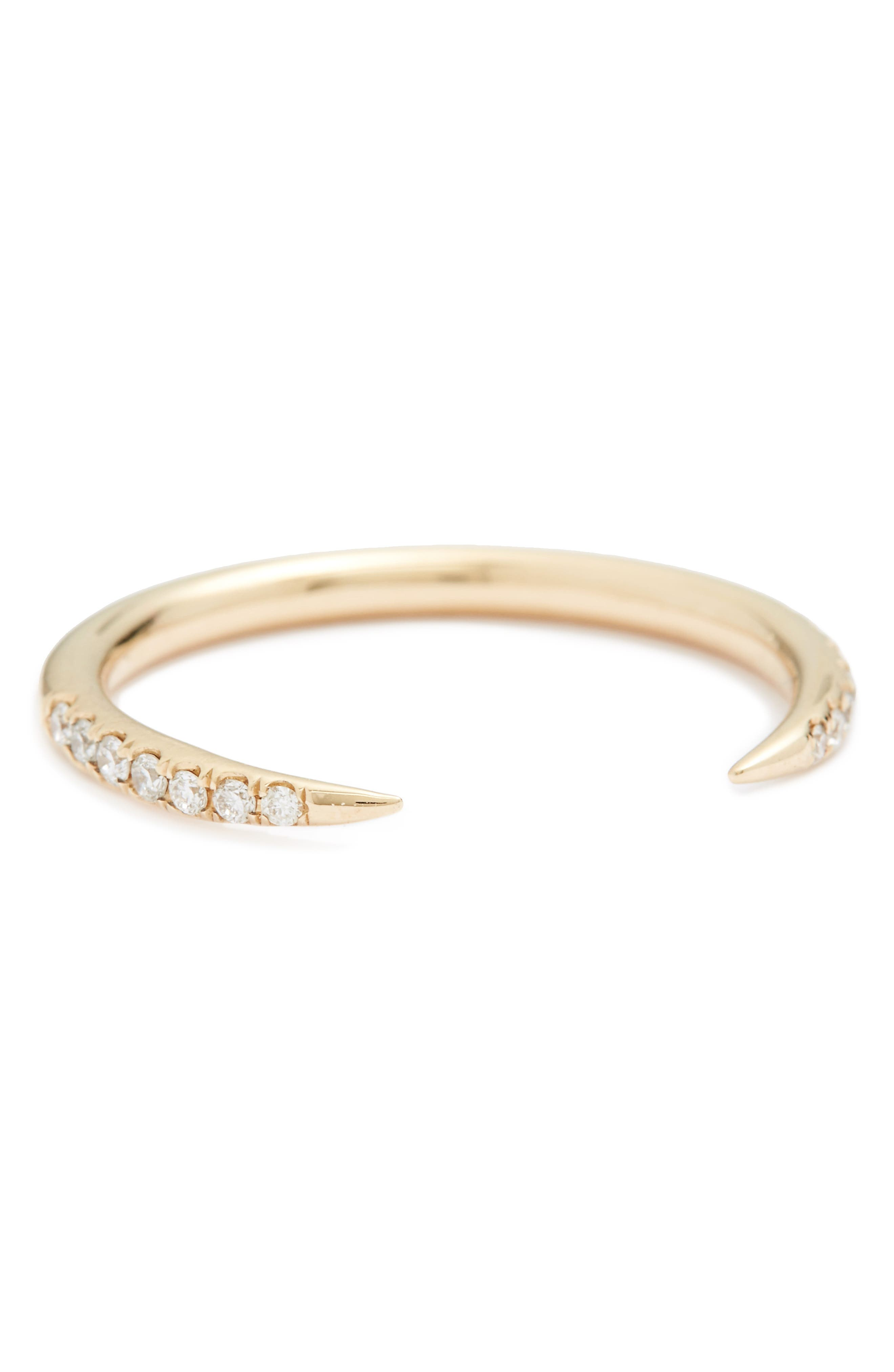 WWAKE 'Micropavé Open Slice' White Diamond Ring