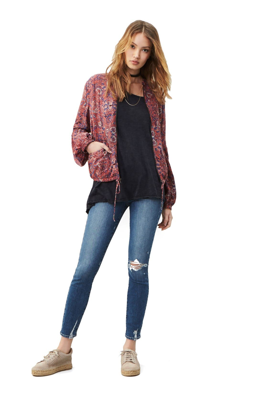 Free People Jacket, Tee & PAIGE Jeans Outfit with Accessories