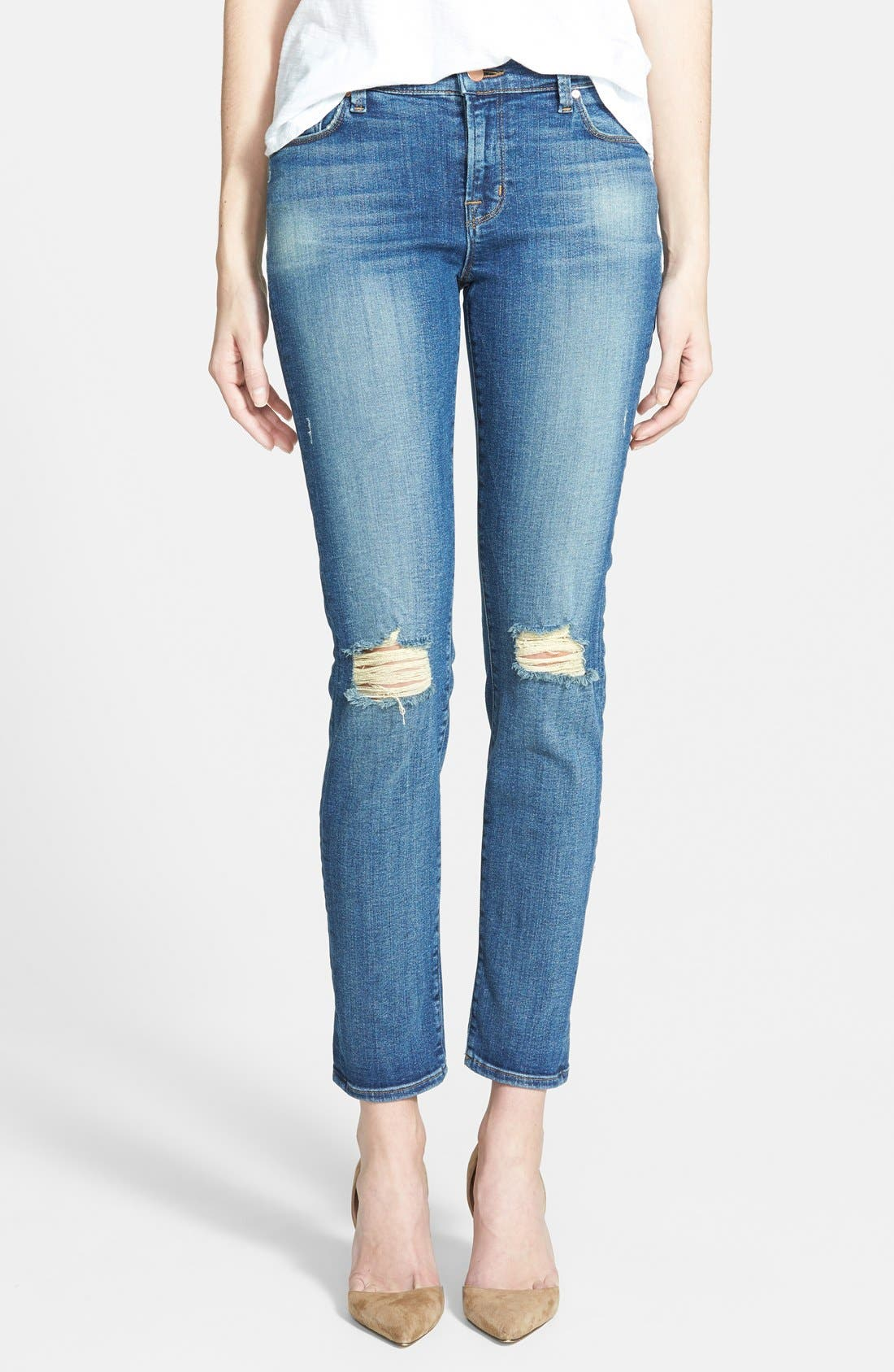 Alternate Image 1 Selected - J Brand Mid-Rise Skinny Jeans (Fray)
