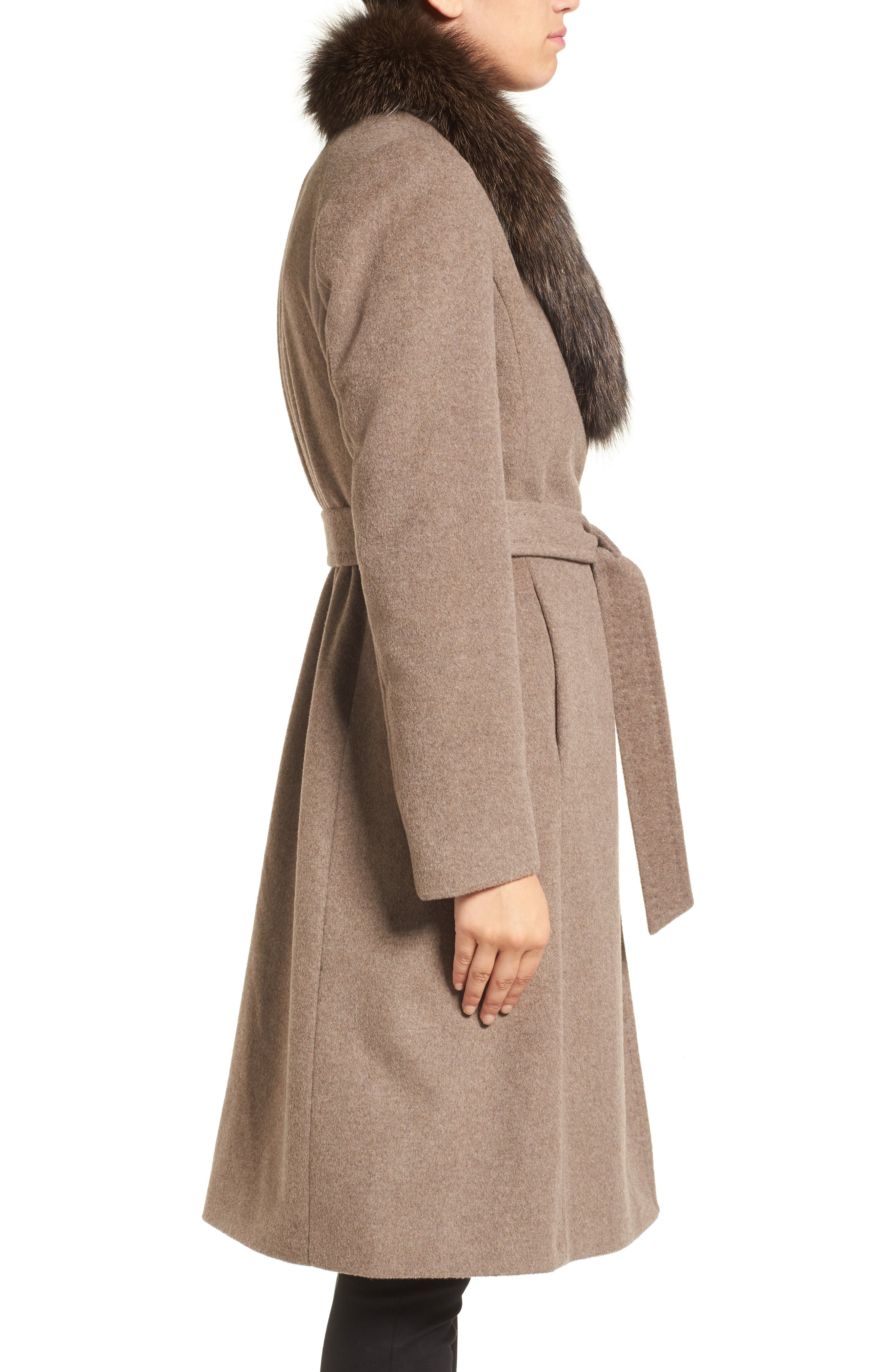 Alternate Image 3  - Ellen Tracy Genuine Fox Collar Wool Blend Long Wrap Coat