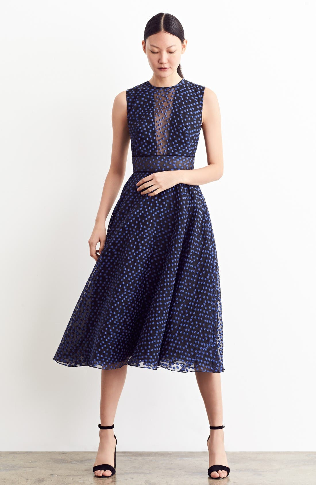 Alternate Image 7  - Lela Rose Dotted Organza Fit & Flare Midi Dress