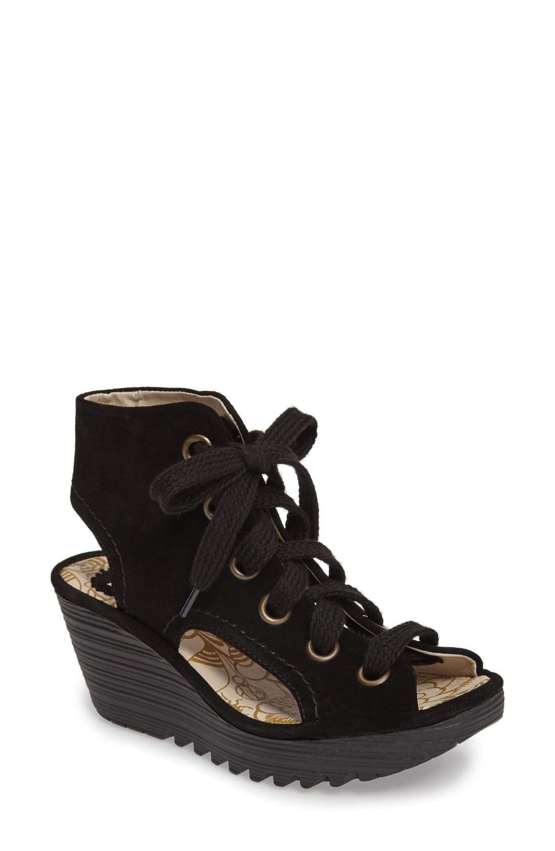 FLY LONDON Yaba Lace-Up Platform Wedge