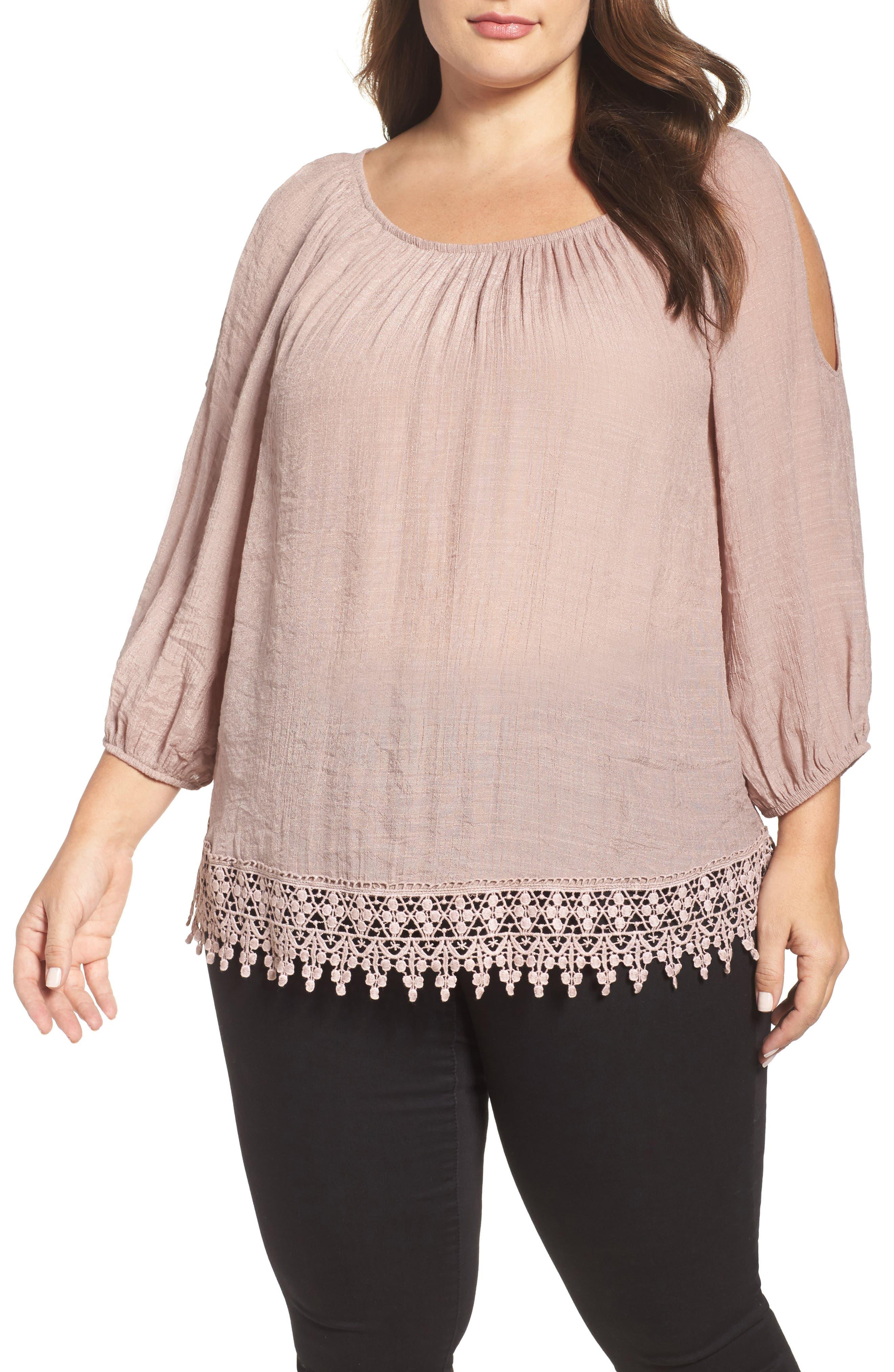 Main Image - Bobeau Cold Shoulder Lace Trim Top (Plus Size)
