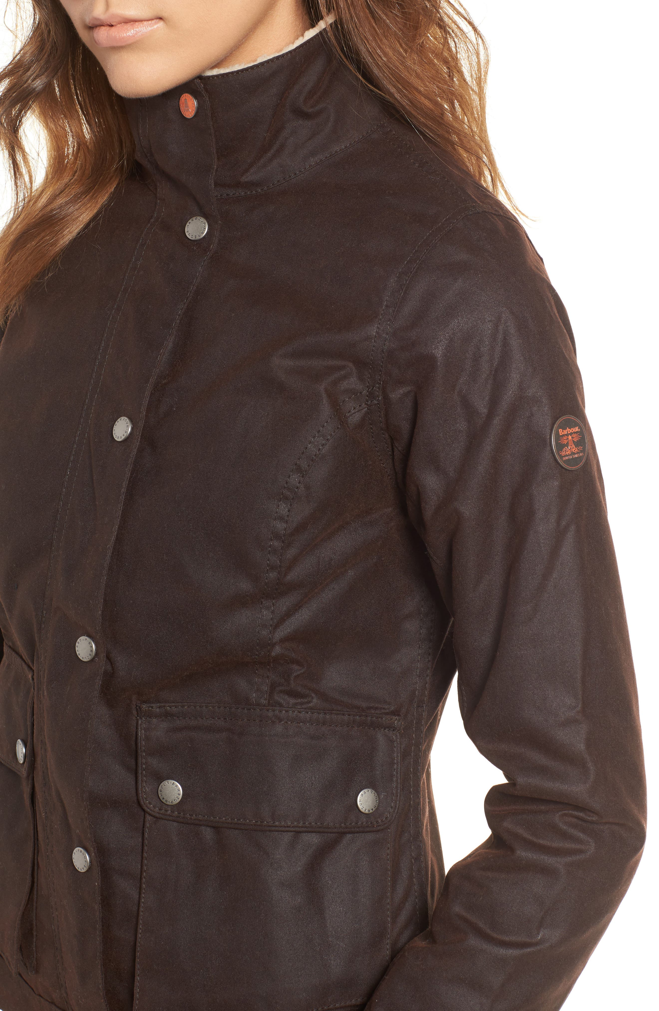 Alternate Image 4  - Barbour Cushat Faux Shearling Trim Waxed Jacket