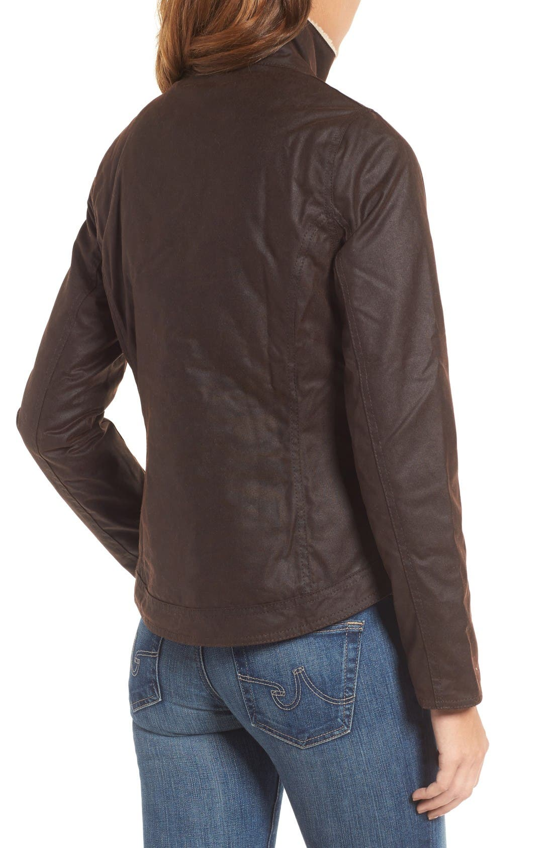 Alternate Image 2  - Barbour Cushat Faux Shearling Trim Waxed Jacket