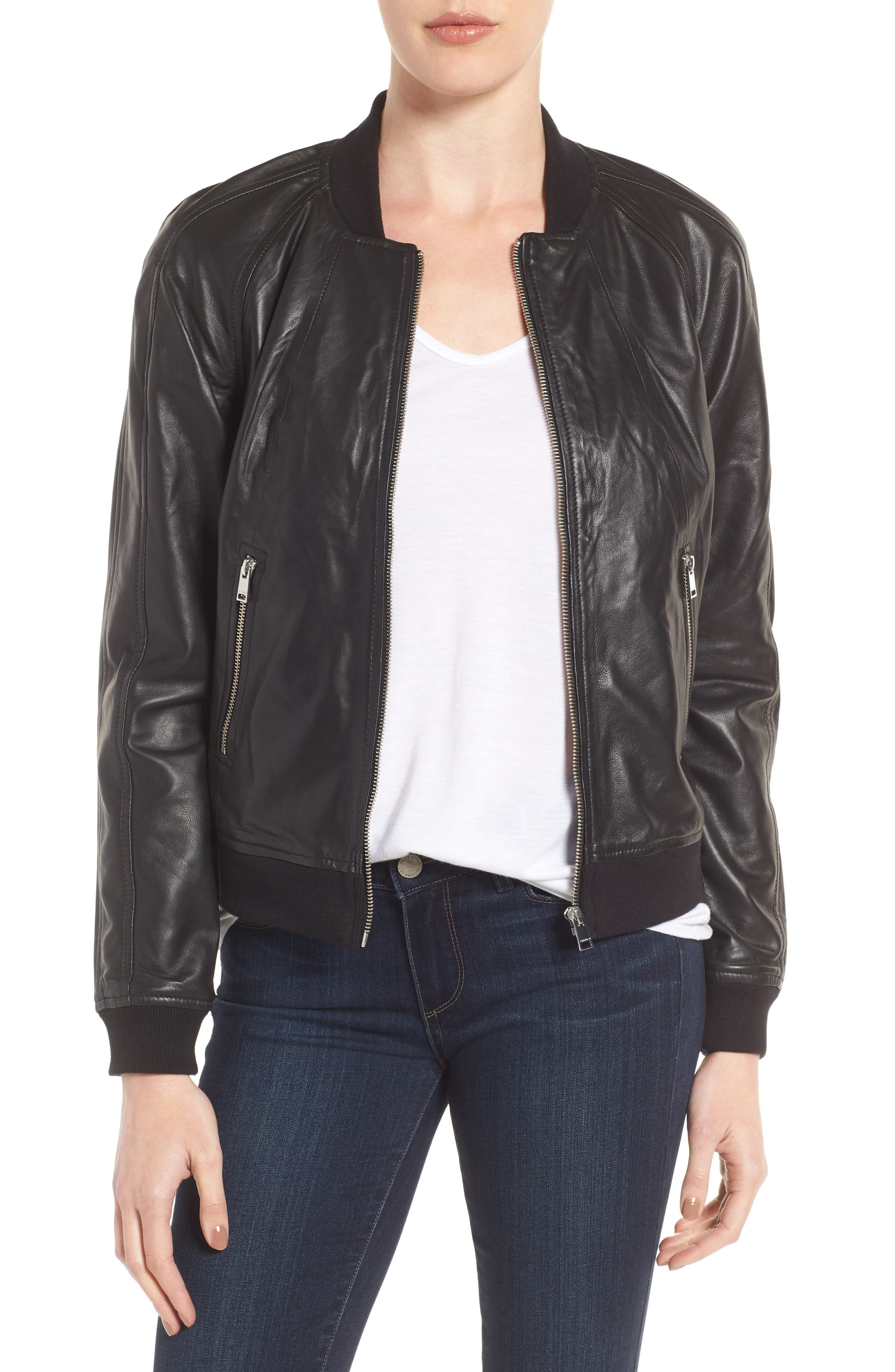 LAMARQUE Darryl Leather Bomber Jacket