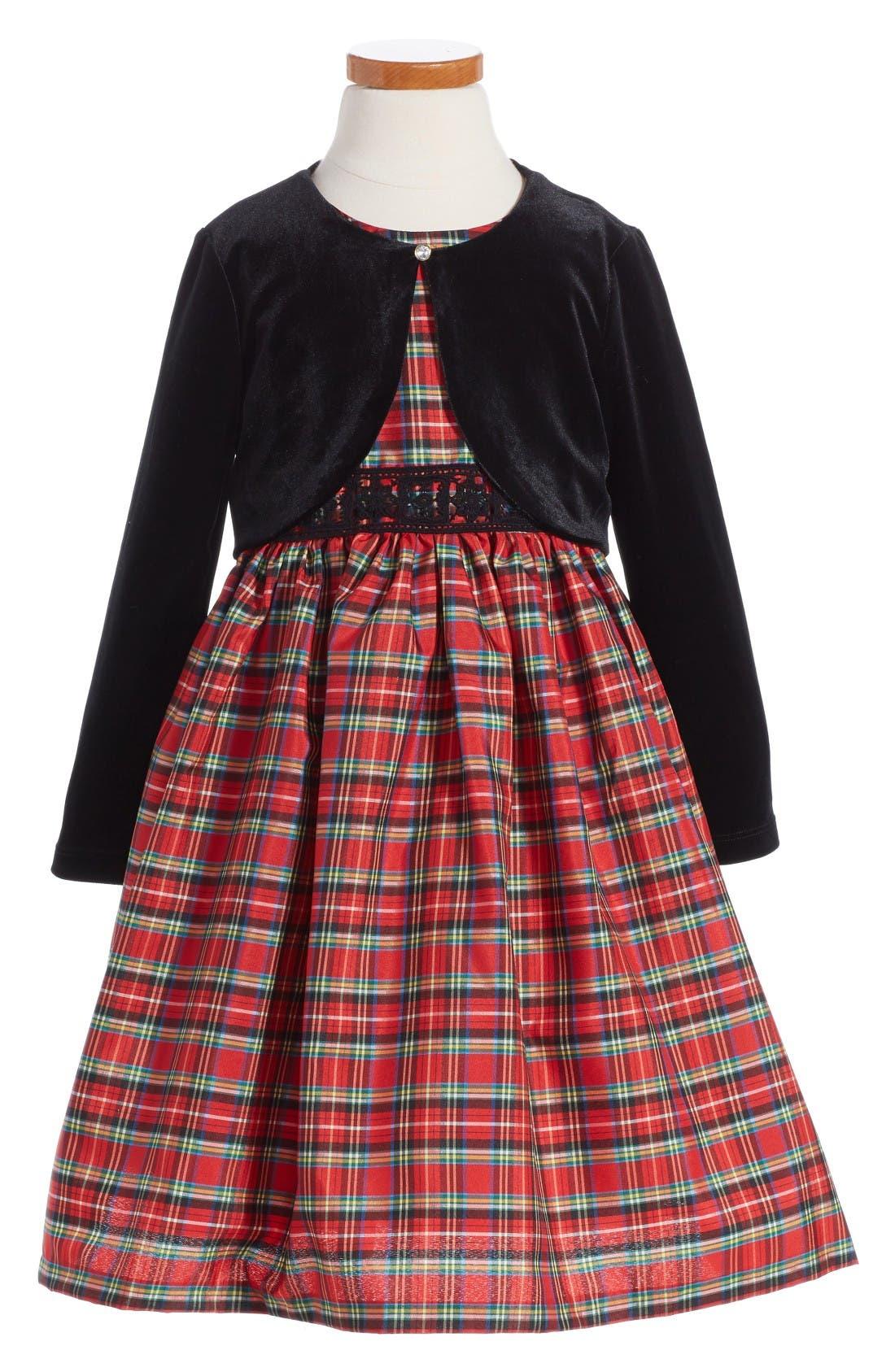 Alternate Image 1 Selected - Pippa & Julie Plaid Dress & Velvet Jacket (Toddler Girls, Little Girls & Big Girls)