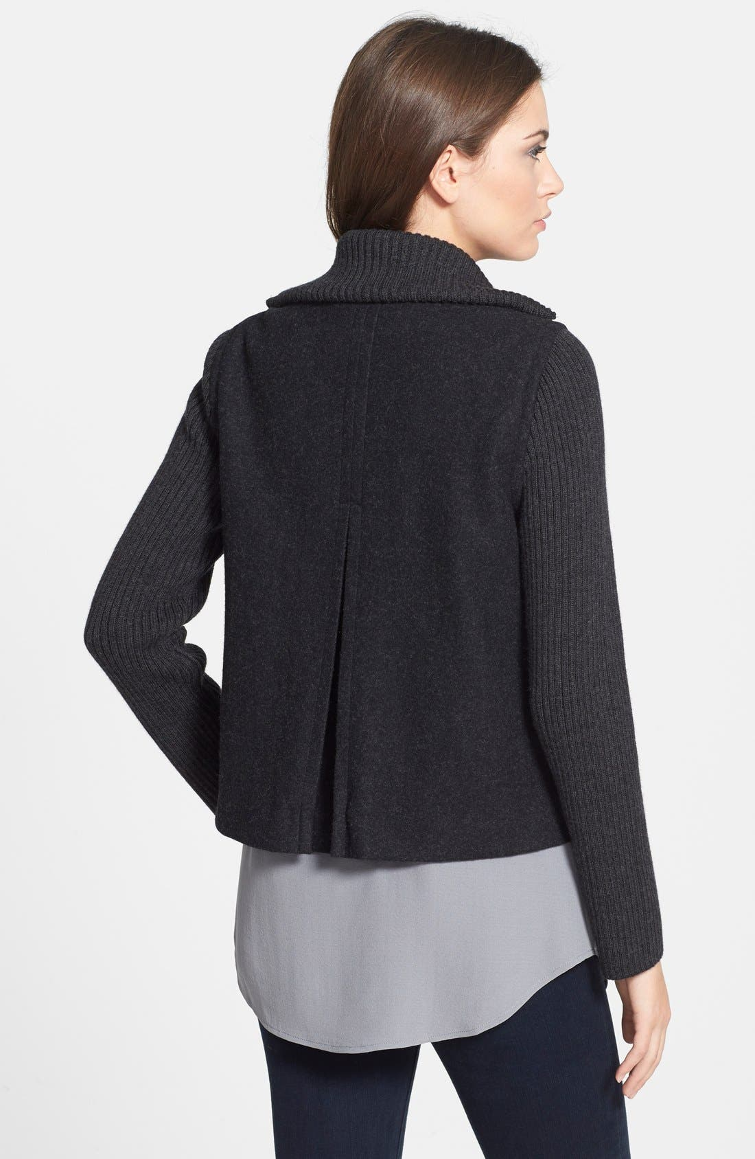 Alternate Image 2  - Eileen Fisher Wool Blend Jacket with Ribbed Contrast (Plus Size)