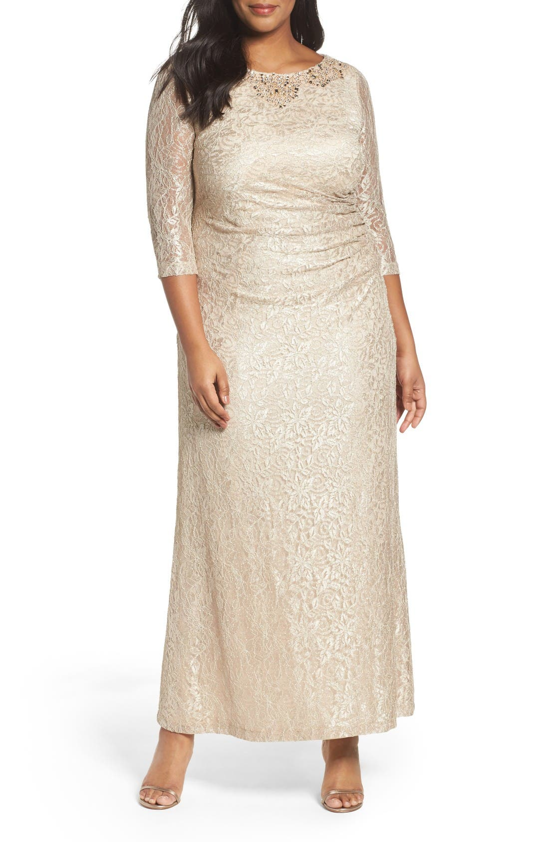 Alex Evening Embellished Lace Column Gown (Plus Size)
