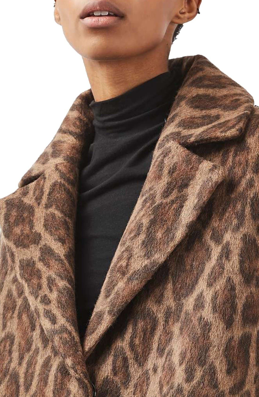 Alternate Image 5  - Topshop Stud Trim Leopard Print Coat