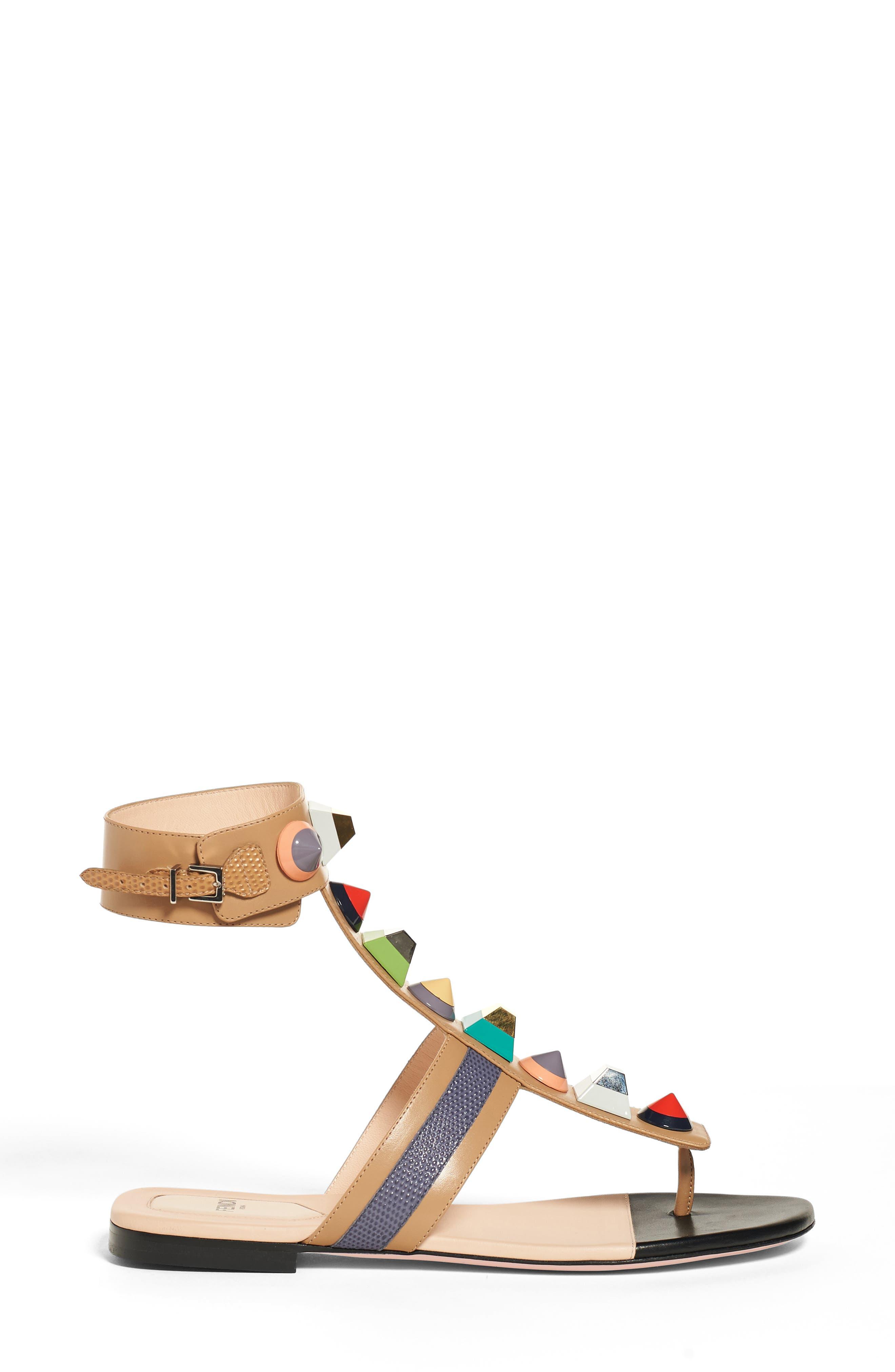 Alternate Image 4  - Fendi 'Rainbow' Studded Colorblock Gladiator Sandal (Women)