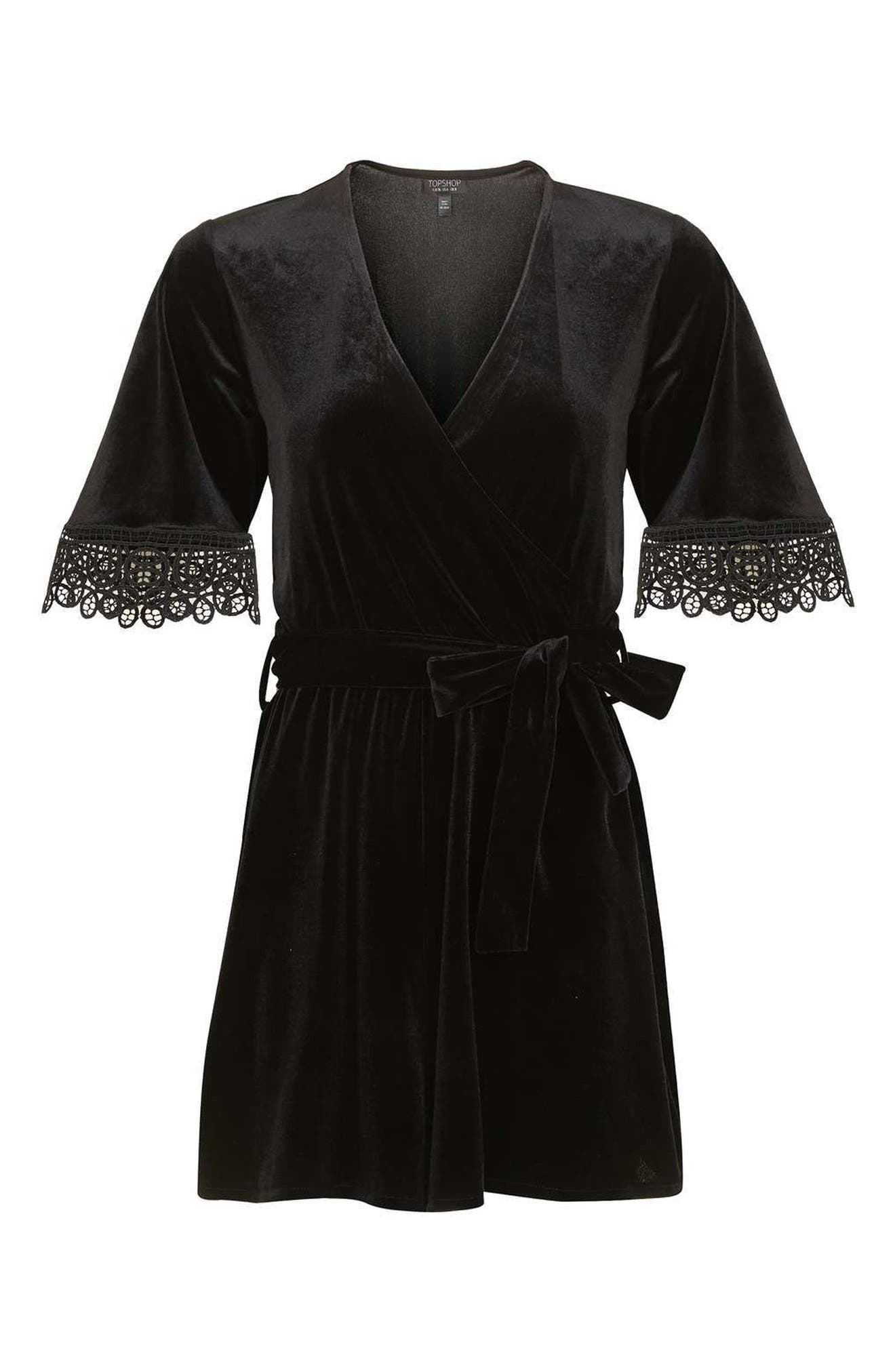 Alternate Image 4  - Topshop Lace Trim Velvet Romper