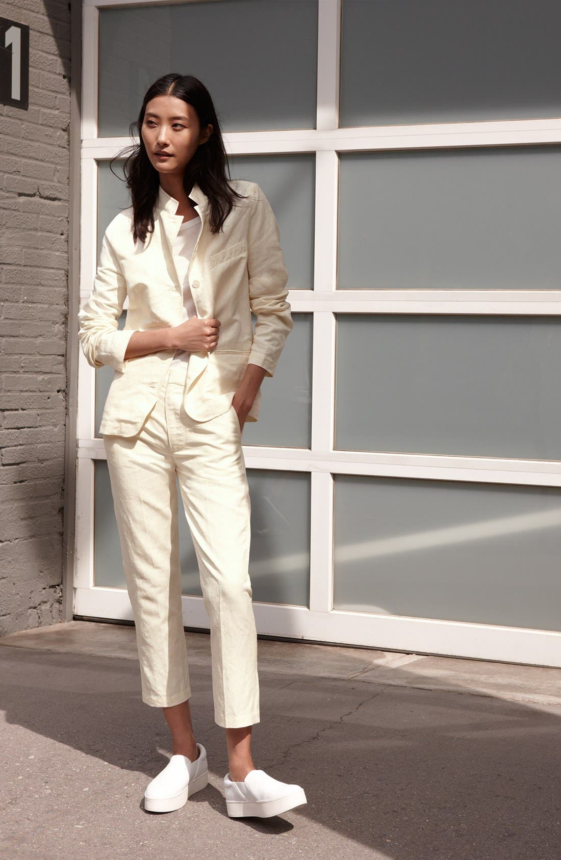 Vince Blazer, Tee & Crop Trousers Outfit with Accessories