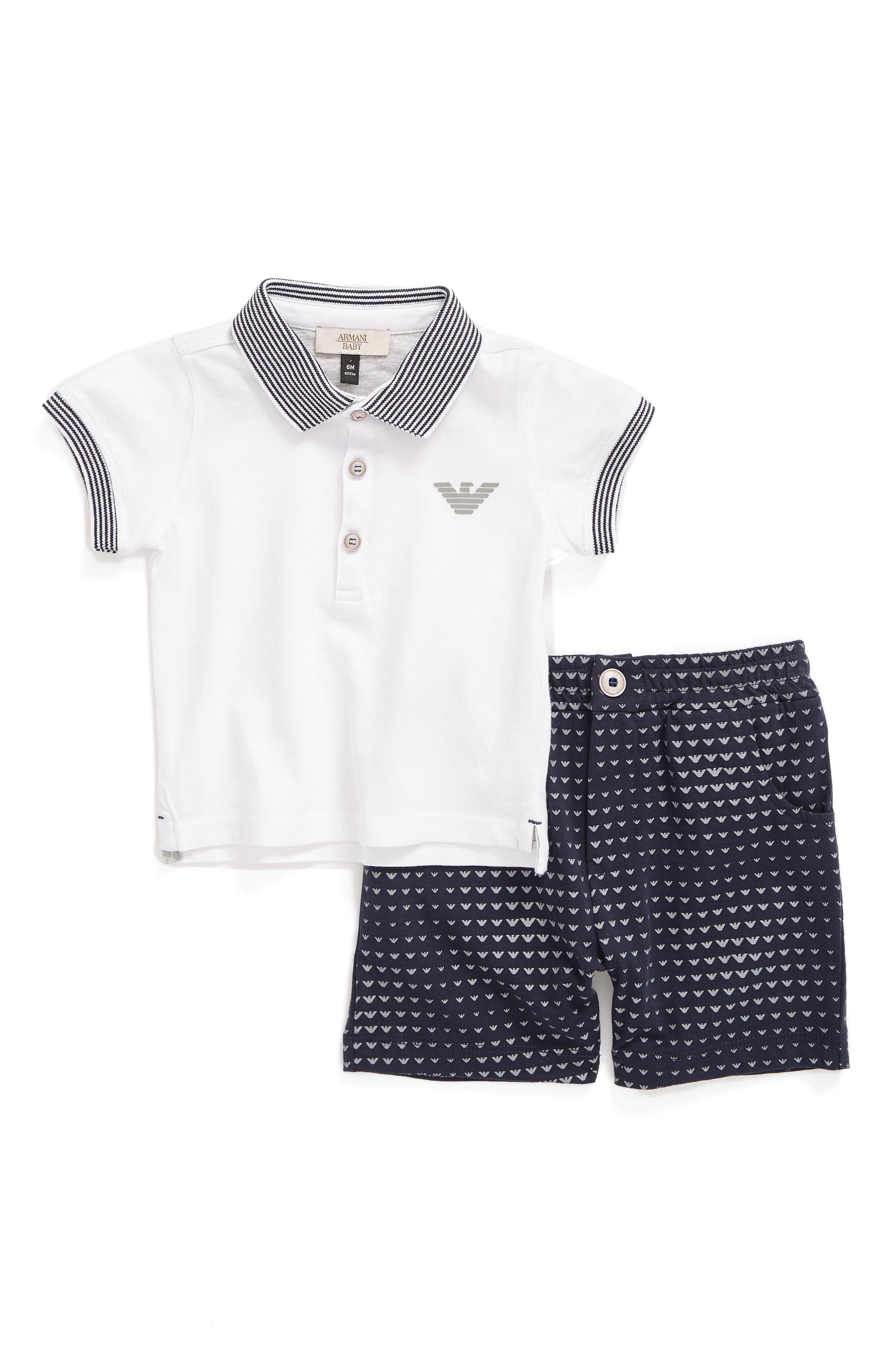 Armani Junior Polo & Shorts Set (Baby Boys)