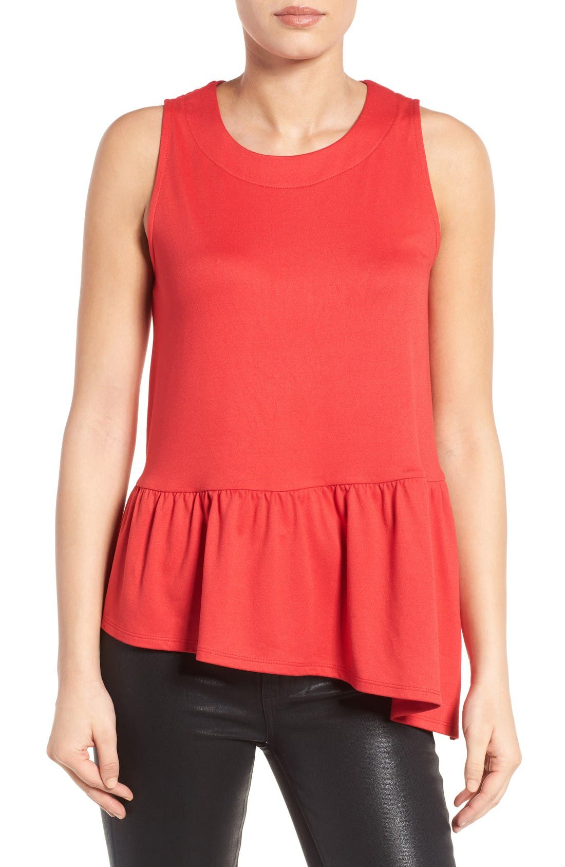 Main Image - Gibson Asymmetrical Ruffle Hem Top (Regular & Petite)