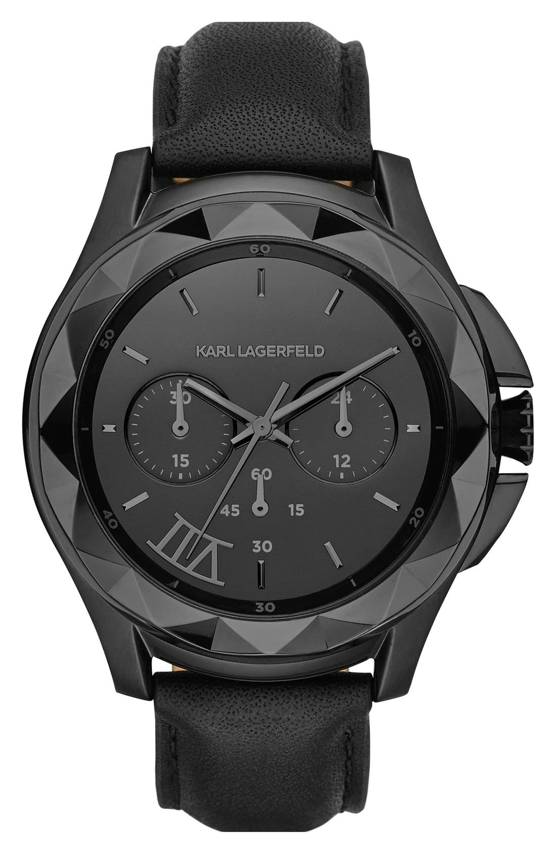 Main Image - KARL LAGERFELD 'Karl 7' Chronograph Leather Strap Watch, 44mm