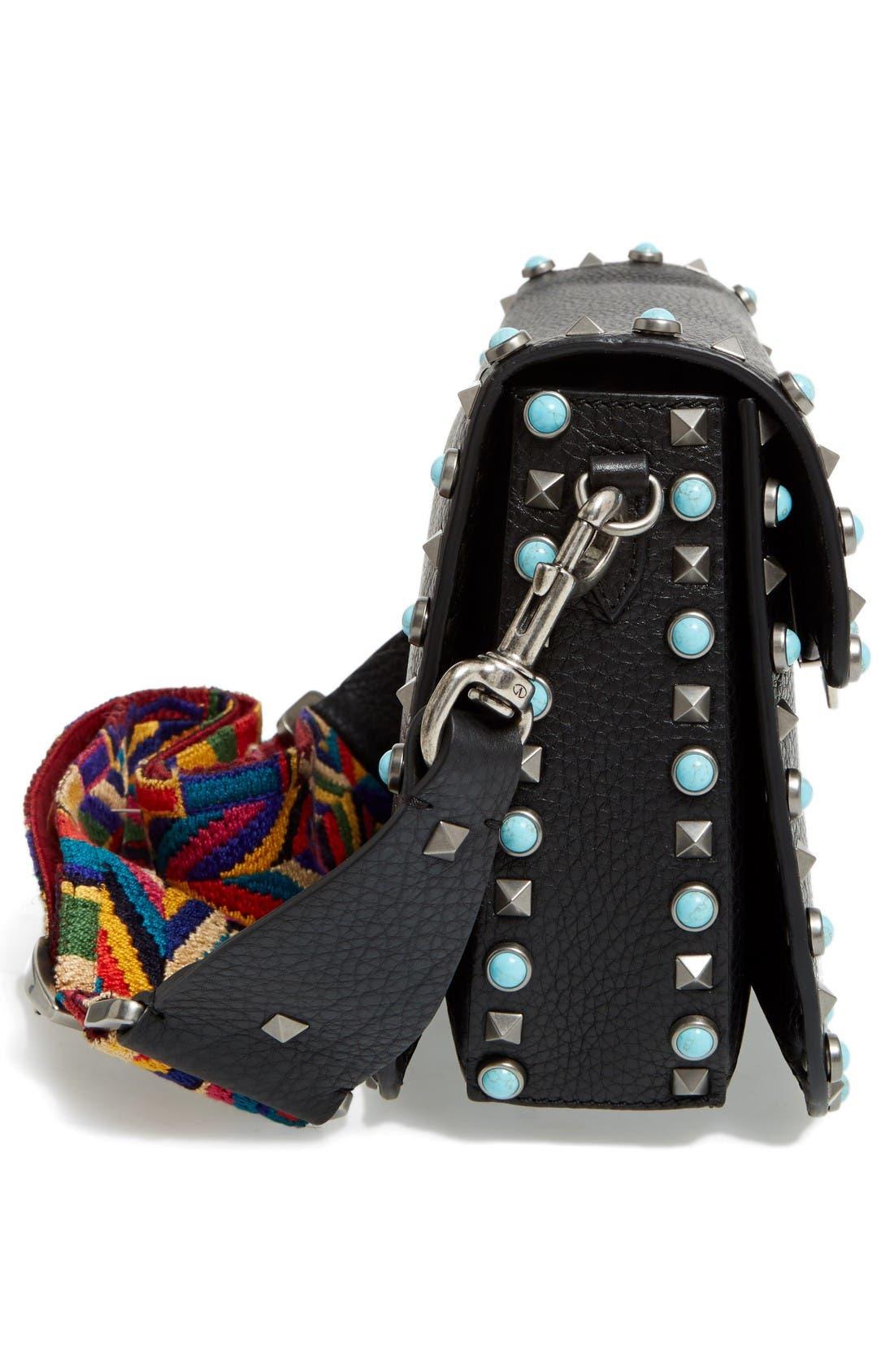 Alternate Image 3  - VALENTINO GARAVANI Rolling Rockstud Guitar Strap Leather Shoulder Bag