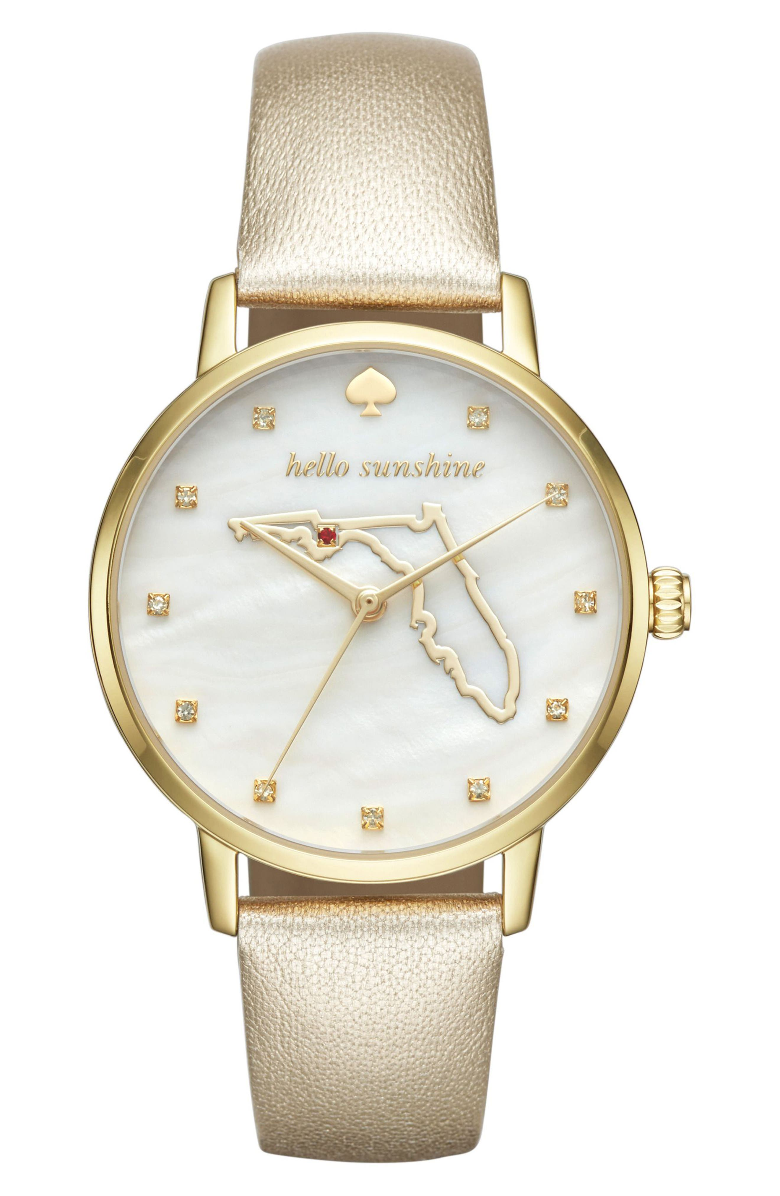 kate spade new york metro florida state of mind leather strap watch, 34mm