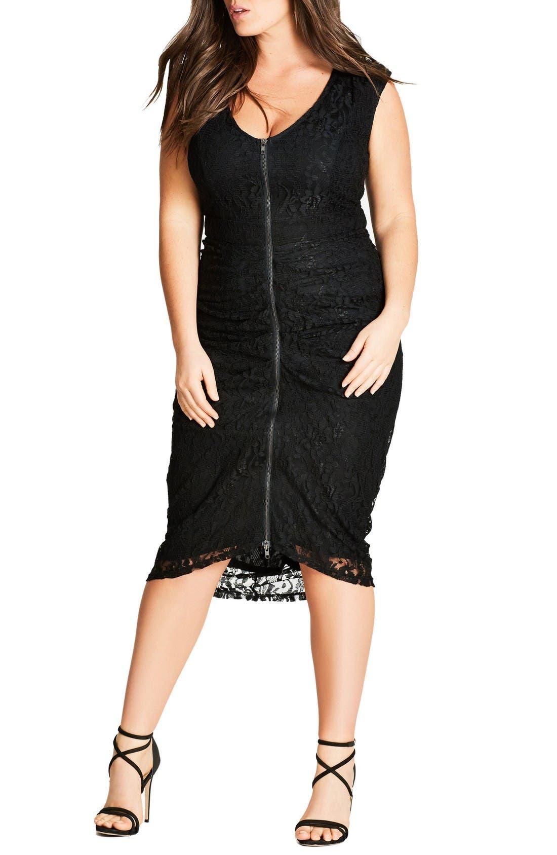 City Chic Shutter Speed Lace Midi Dress (Plus Size)
