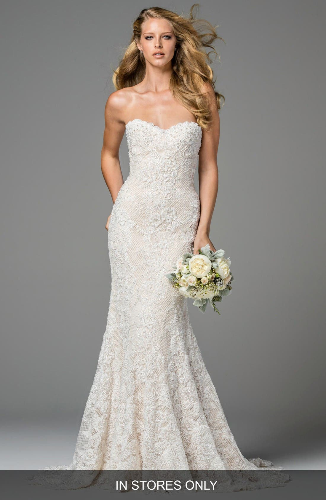 Watters Copeland Strapless Lace Gown