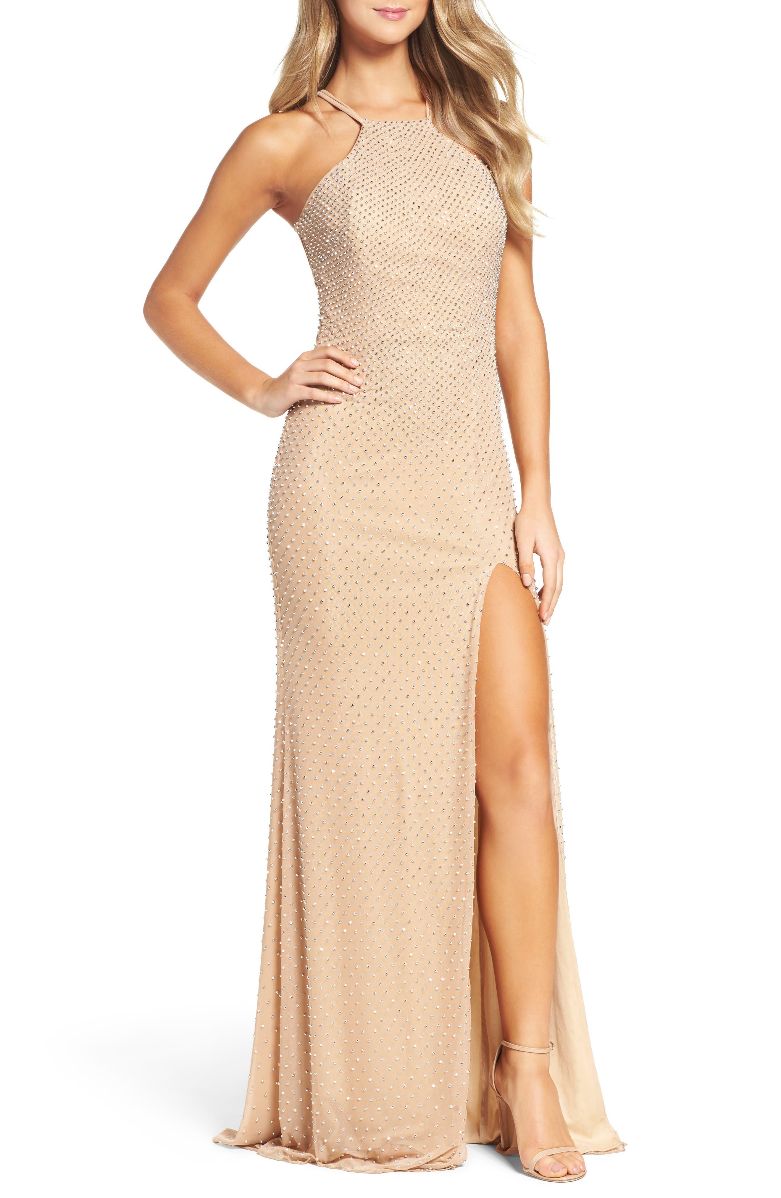 Main Image - La Femme Beaded Column Gown