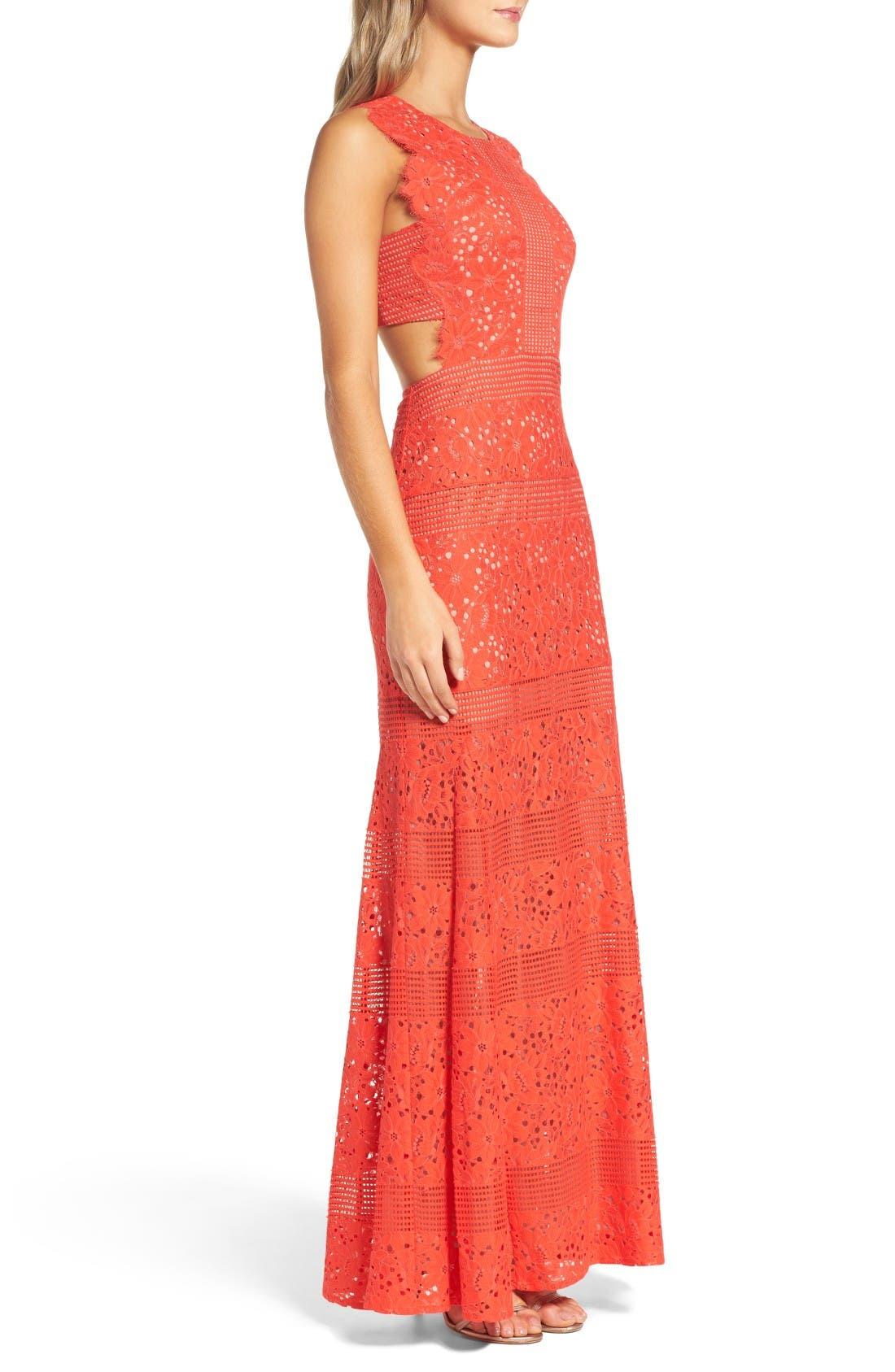 Alternate Image 3  - BCBGMAXAZRIA Merida Open Back Lace Gown