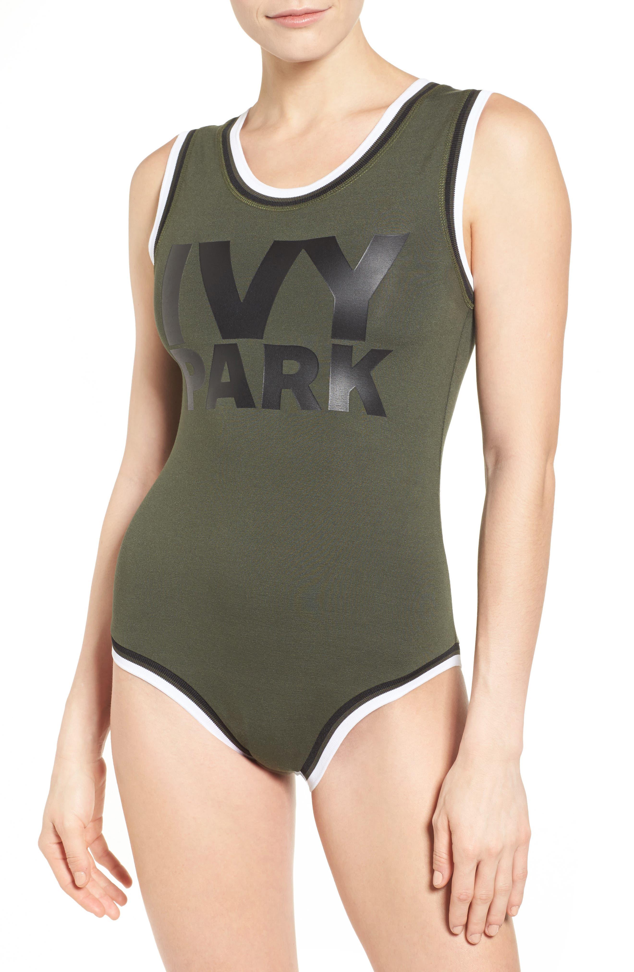 IVY PARK® Stripe Trim Logo Bodysuit